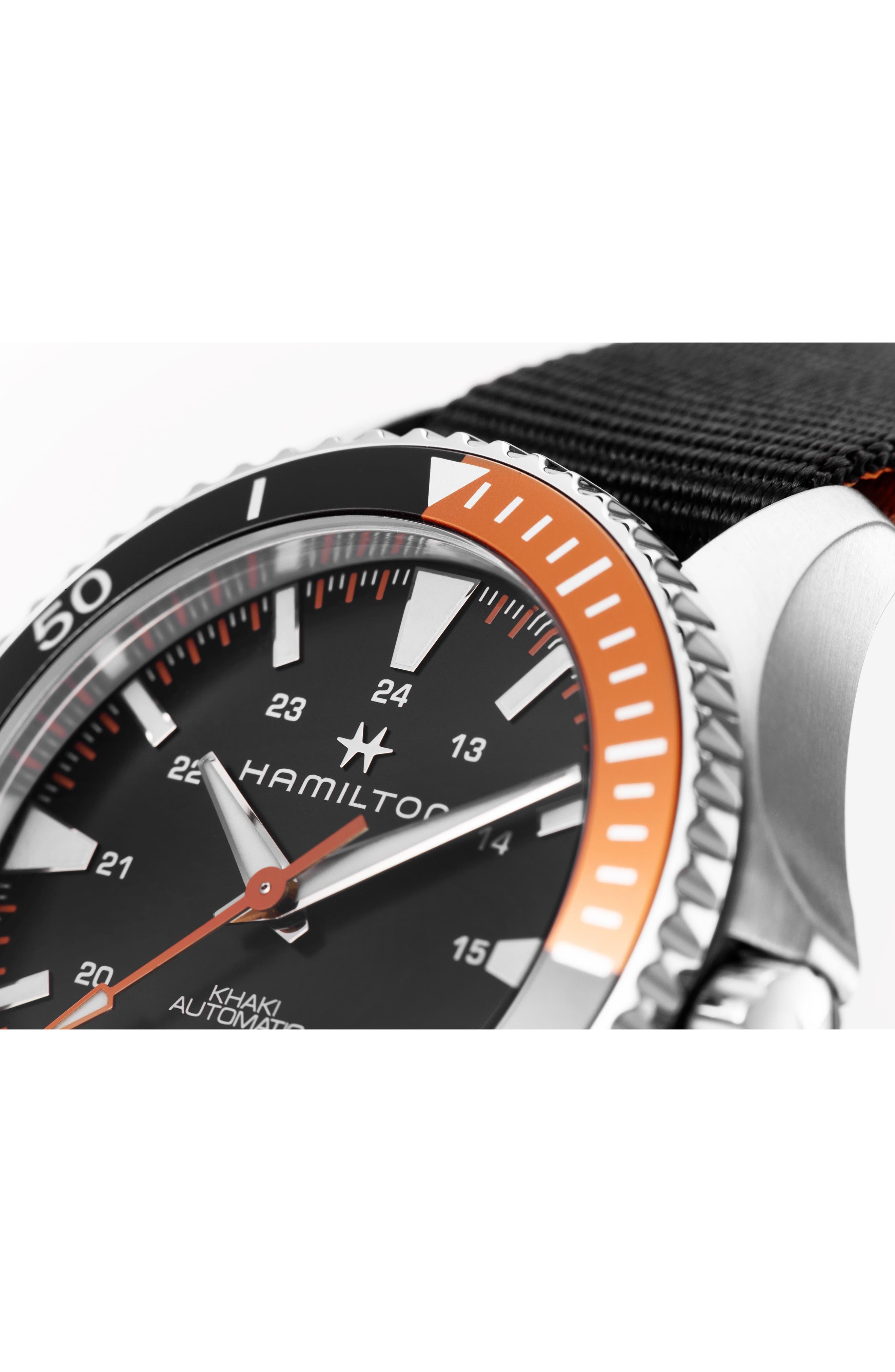 Khaki Navy Scuba Automatic Canvas Strap Watch, 40mm,                             Alternate thumbnail 2, color,                             BLACK/ SILVER