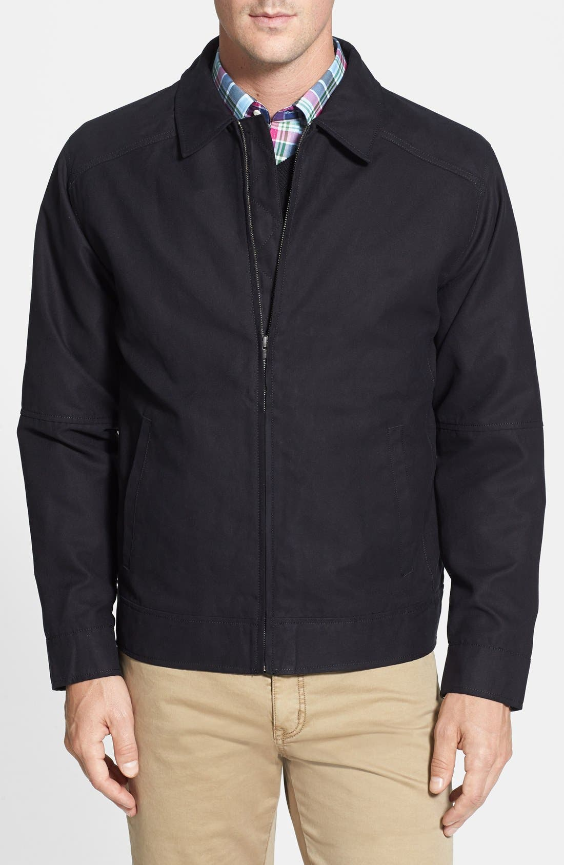 Roosevelt Water Resistant Full Zip Jacket,                             Main thumbnail 1, color,                             BLACK