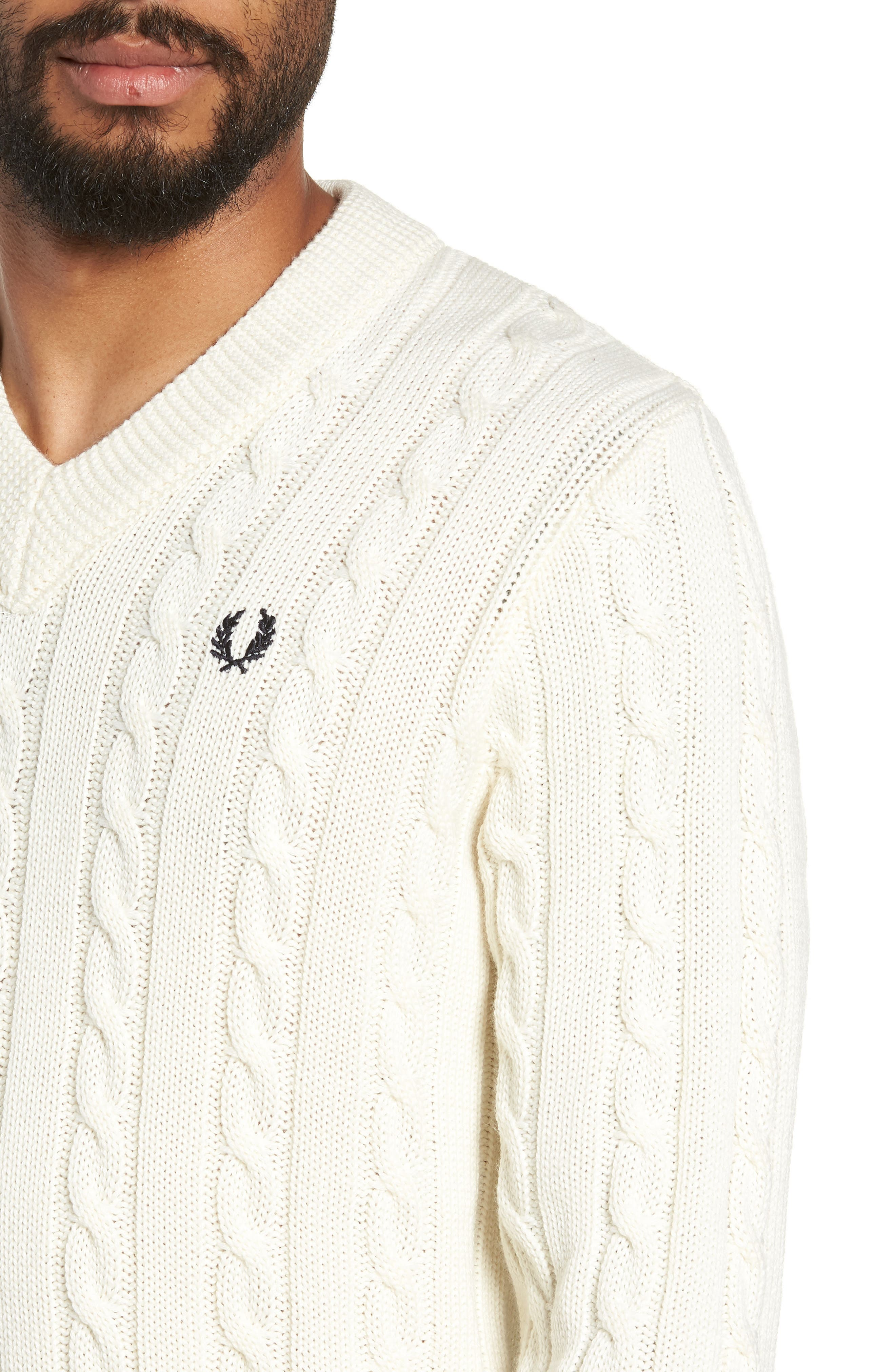 Wool Blend Cable Knit Sweater,                             Alternate thumbnail 4, color,                             ECRU