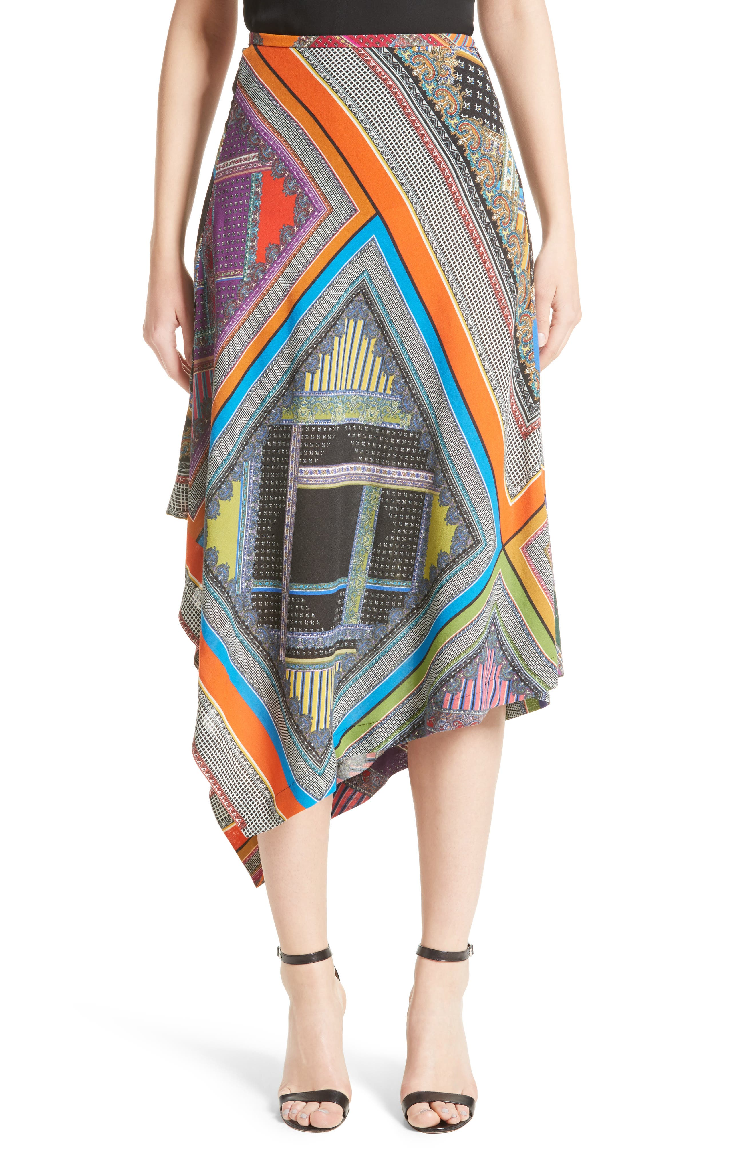 Patchwork Print Asymmetrical Skirt,                             Main thumbnail 1, color,                             800
