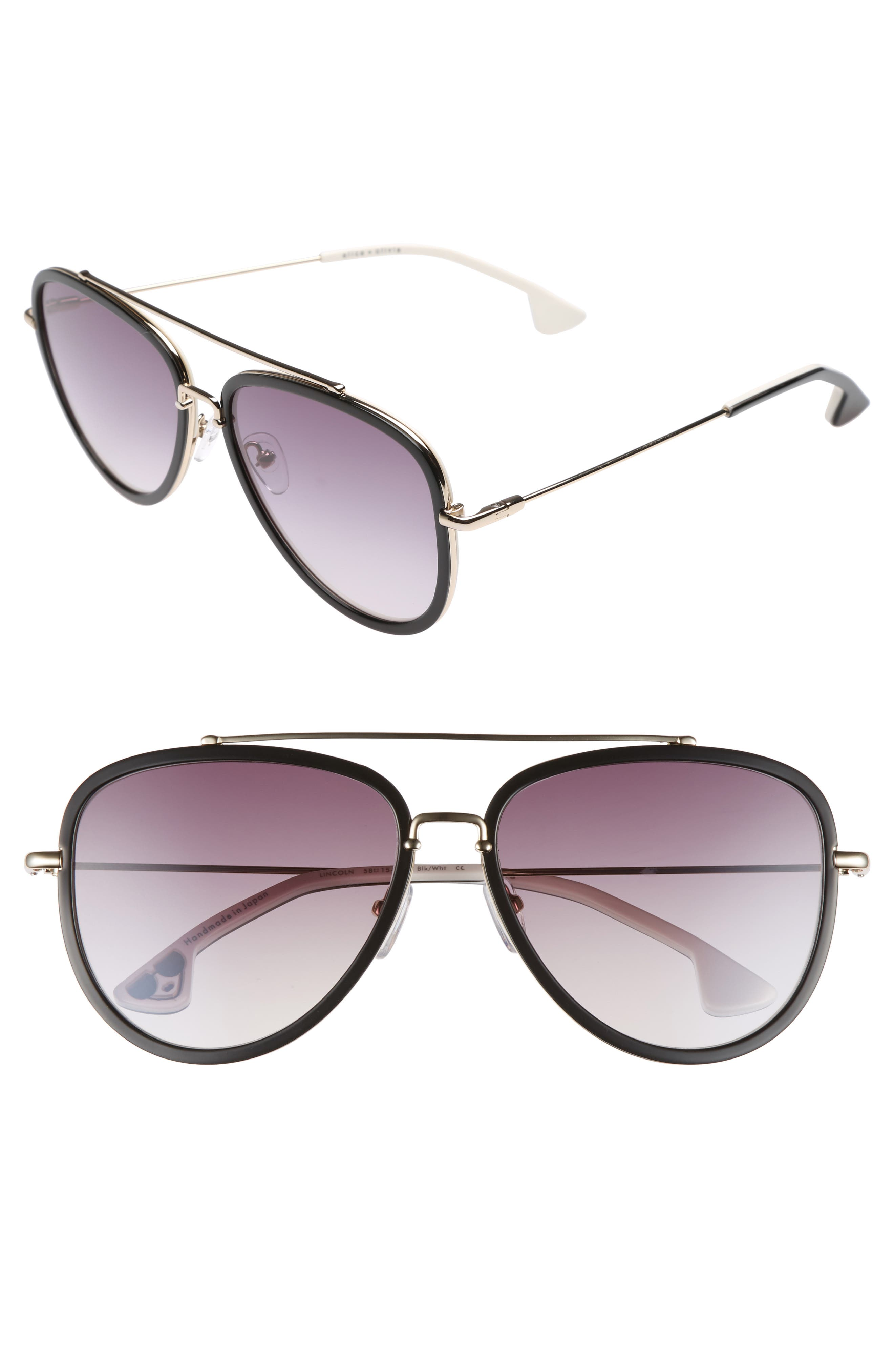 Lincoln 58mm Aviator Sunglasses,                             Main thumbnail 1, color,