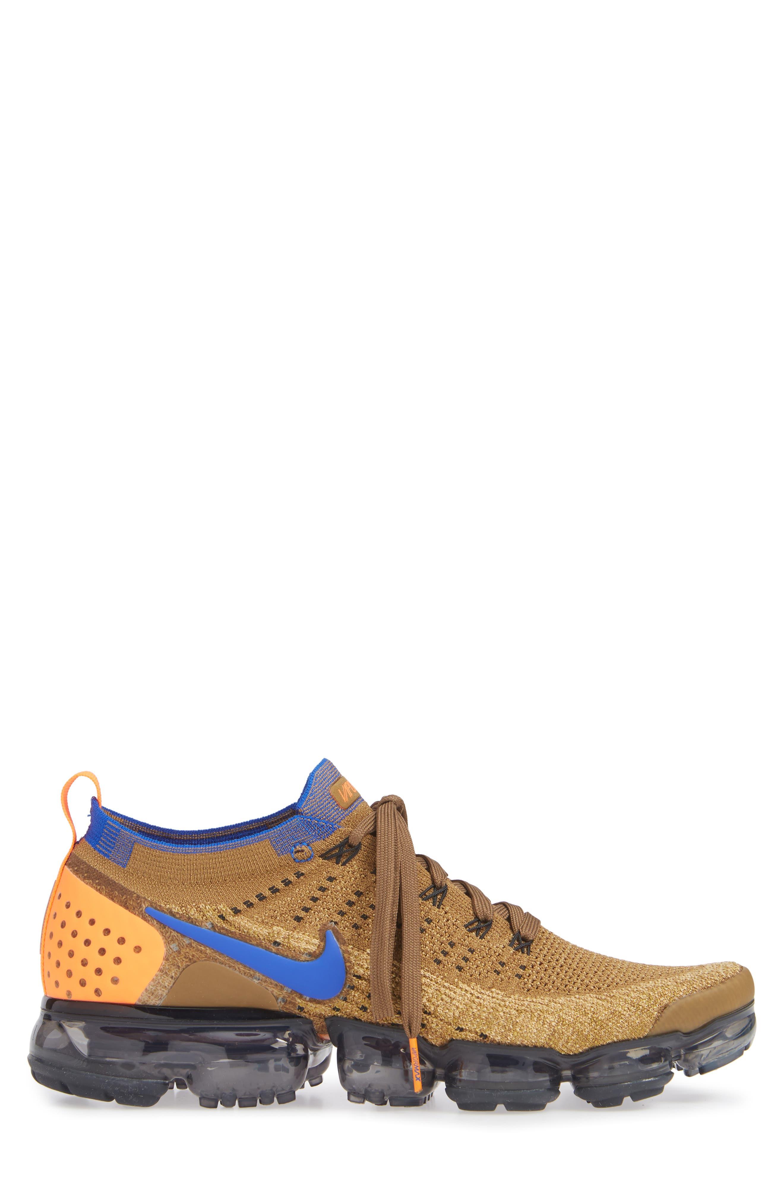 Air Vapormax Flyknit 2 Running Shoe,                             Alternate thumbnail 3, color,                             GOLDEN BEIGE/ RACER BLUE/ GOLD