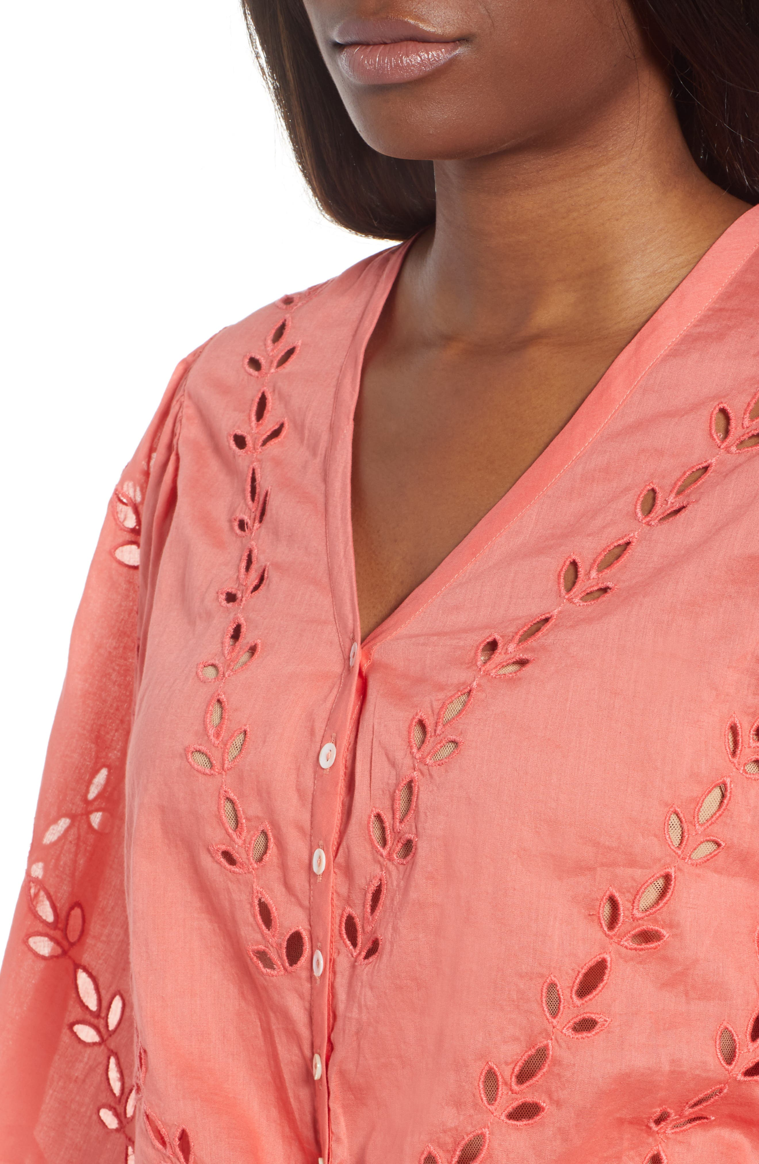 Eyelet Tie Front Cotton Peasant Blouse,                             Alternate thumbnail 4, color,                             950