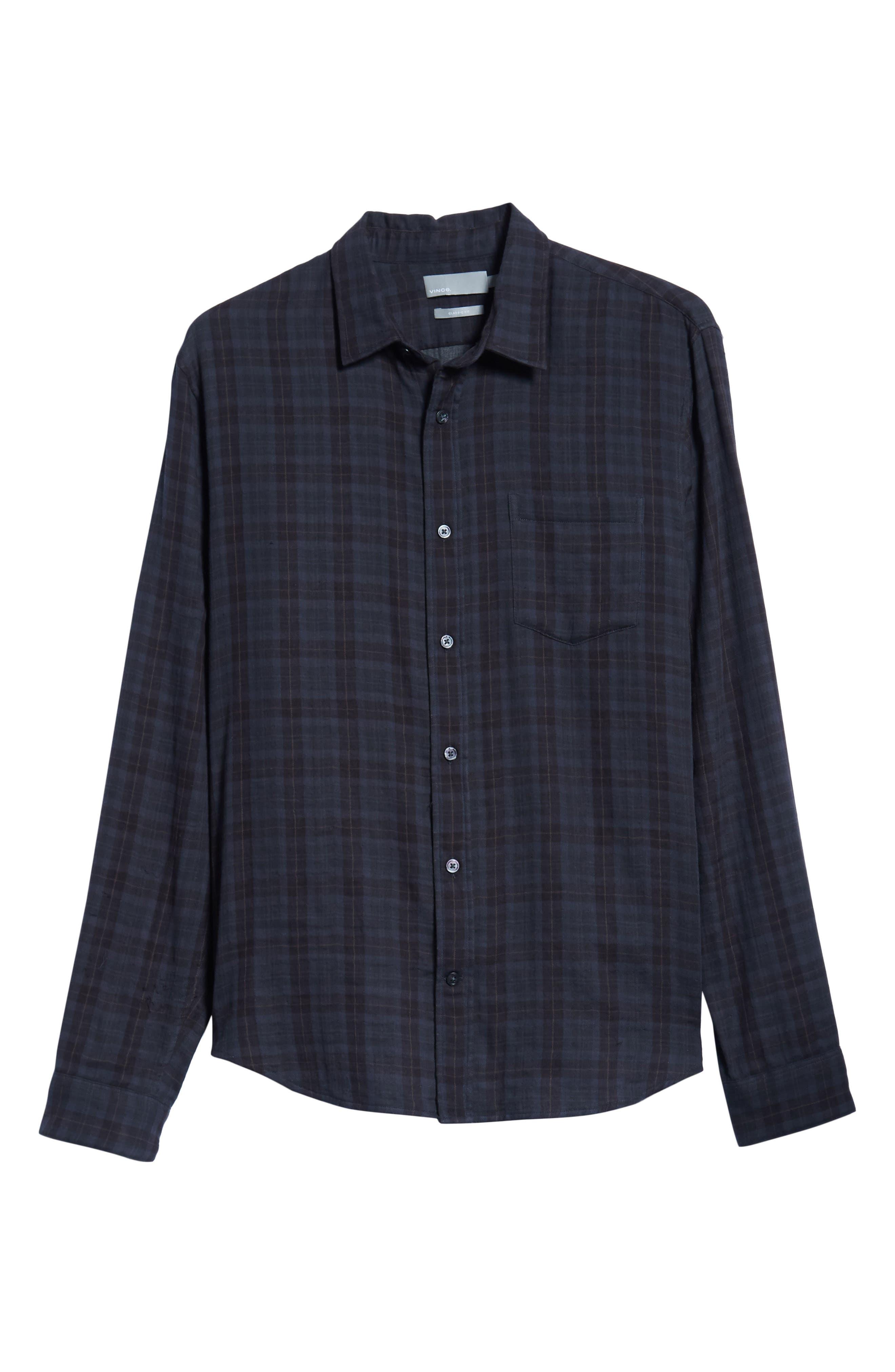Slim Fit Plaid Double Knit Sport Shirt,                             Alternate thumbnail 5, color,                             SLATE
