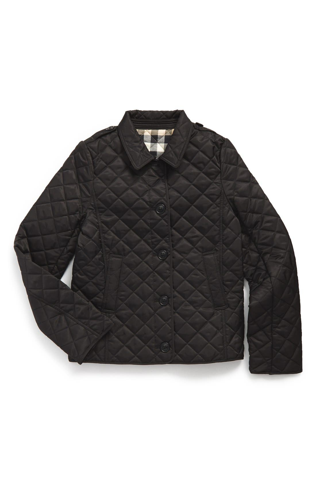 BURBERRY,                             'Mini Ashurst' Quilted Jacket,                             Main thumbnail 1, color,                             001
