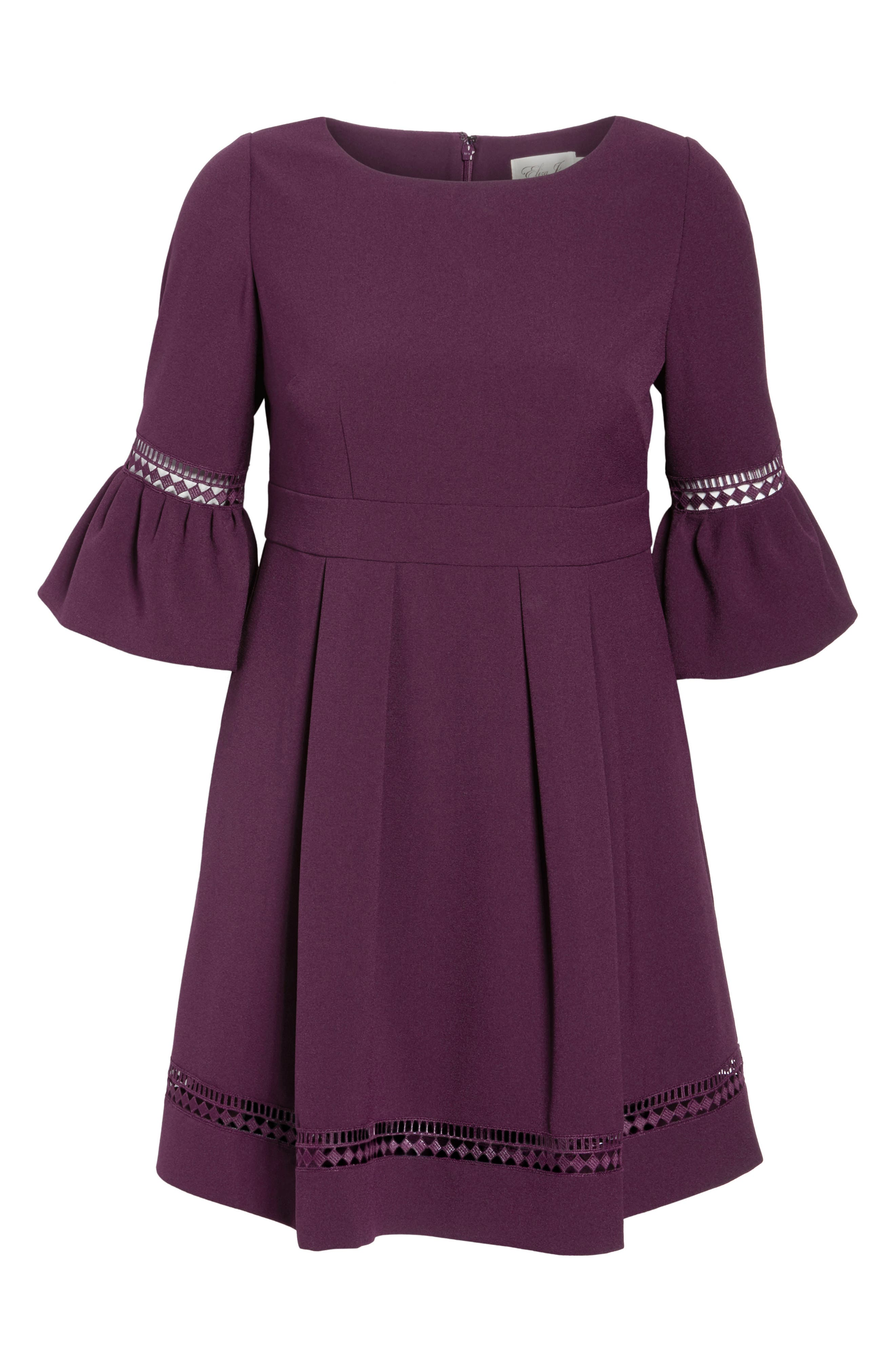 Bell Sleeve Fit & Flare Dress,                             Alternate thumbnail 8, color,                             PURPLE