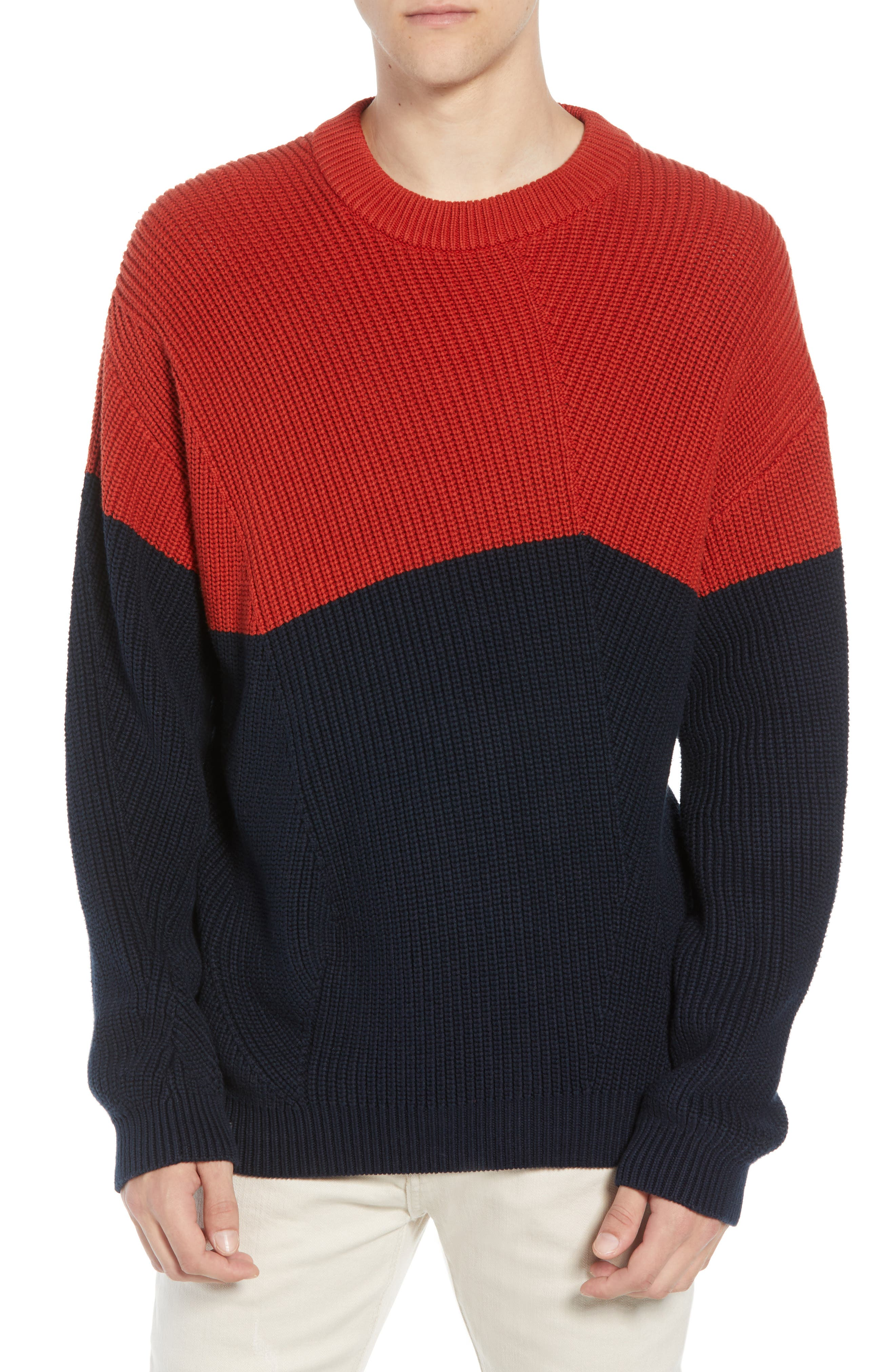 French Connection Asymmetrical Colorblock Sweater, Red