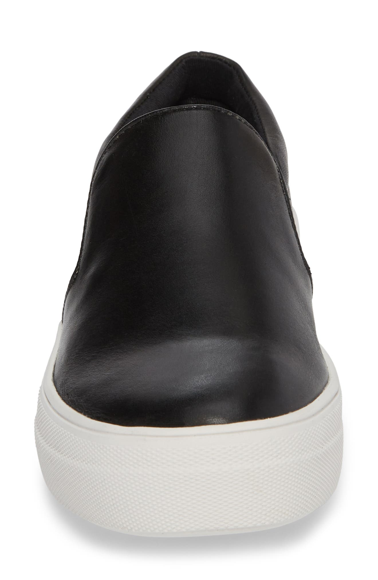 Gills Platform Slip-On Sneaker,                             Alternate thumbnail 4, color,                             BLACK LEATHER