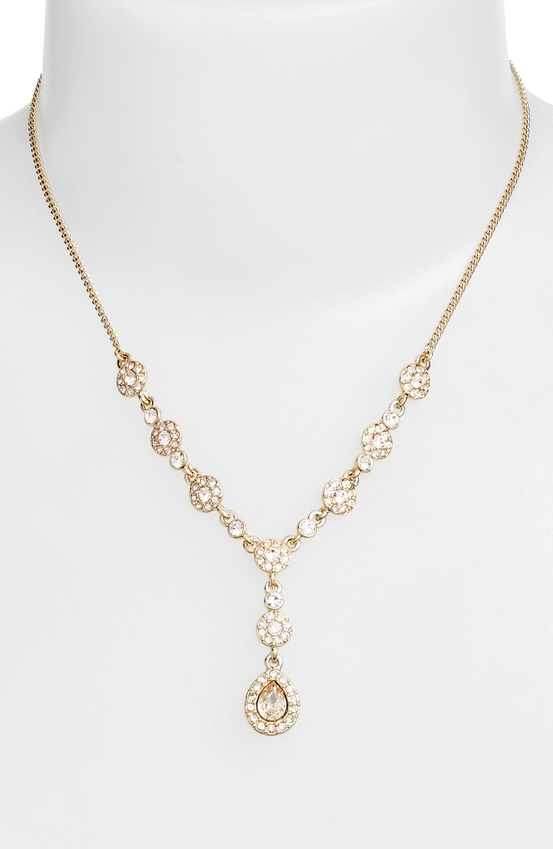 Pavé Crystal Y-Necklace,                             Main thumbnail 1, color,                             GOLD