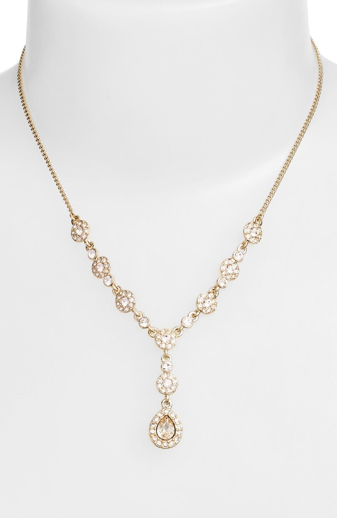 Pavé Crystal Y-Necklace, Main, color, GOLD