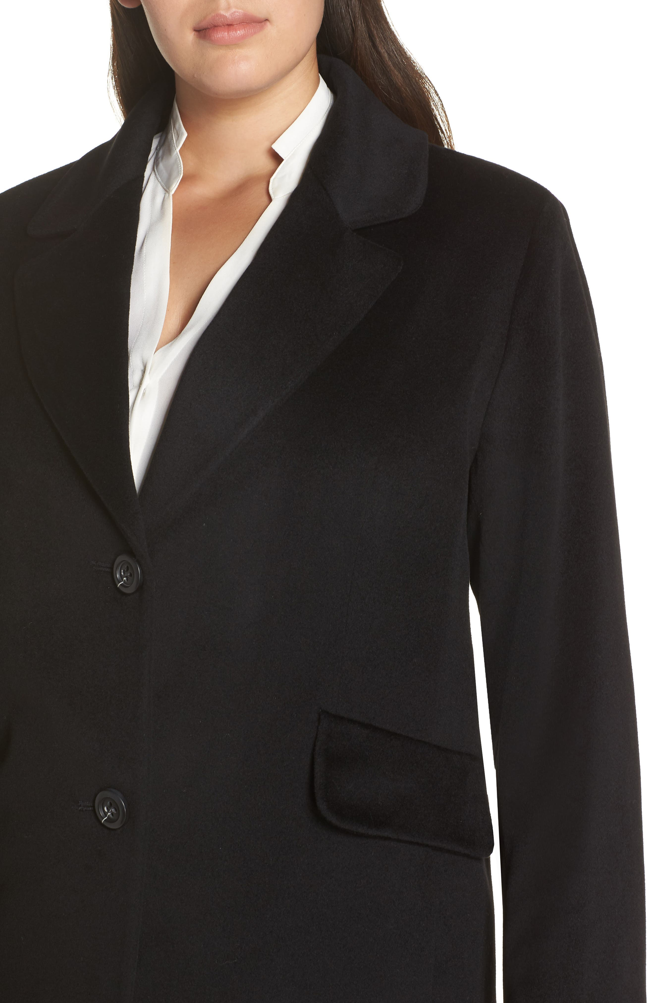 FLEURETTE,                             Notch Collar Loro Piana Wool Coat,                             Alternate thumbnail 4, color,                             BLACK