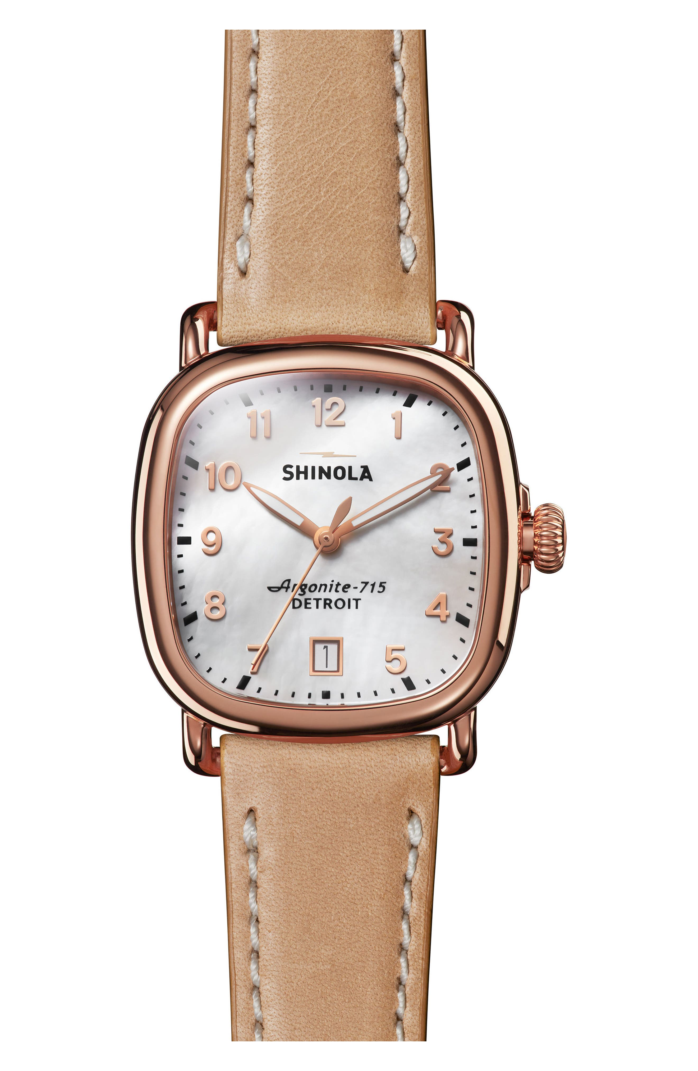 The Guardian Leather Strap Watch, 36mm,                         Main,                         color, NATURAL/ MOP/ ROSE GOLD