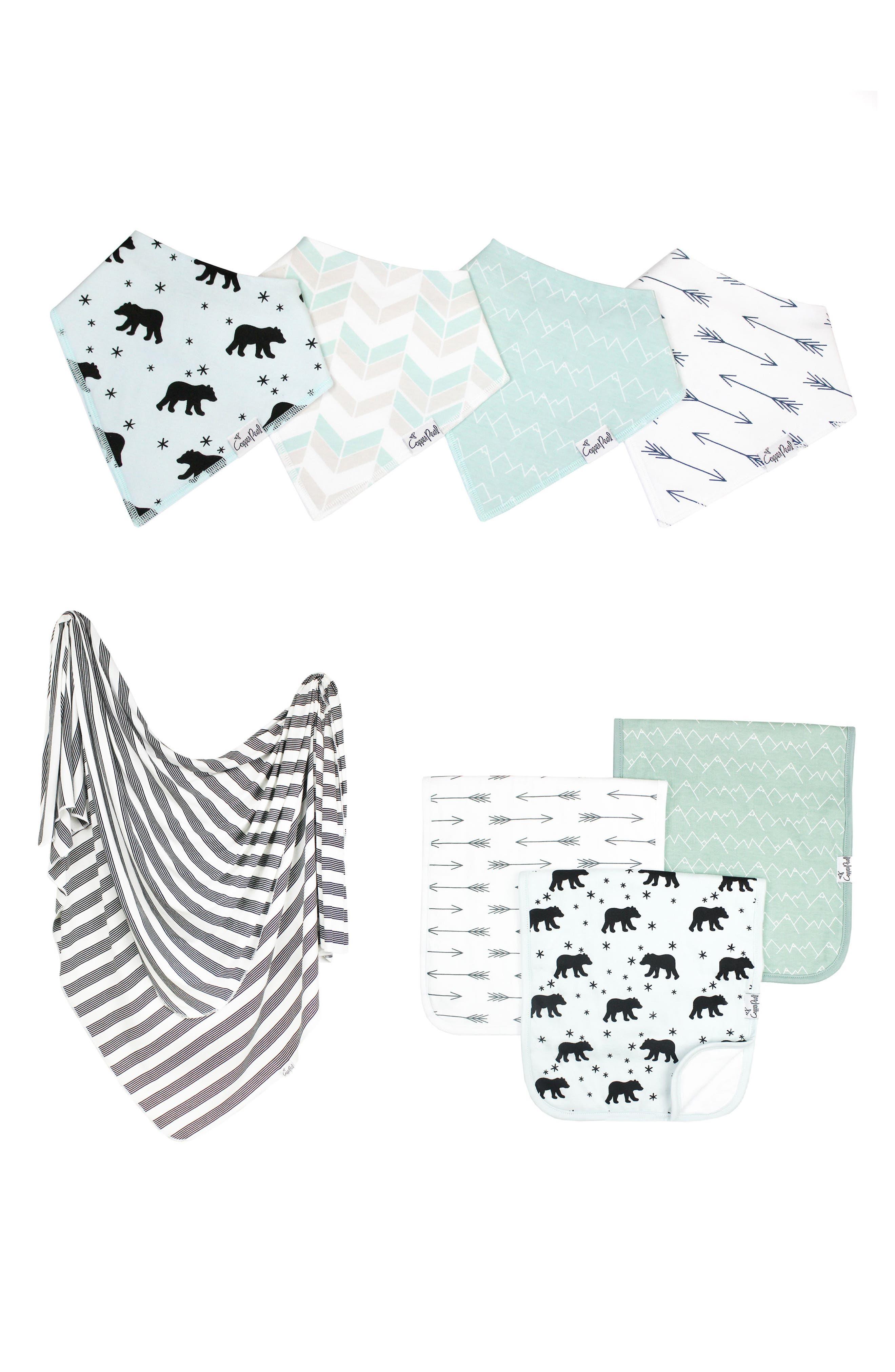 Archer Bib, Burp Cloth & Swaddle Blanket Gift Set,                             Main thumbnail 1, color,                             400