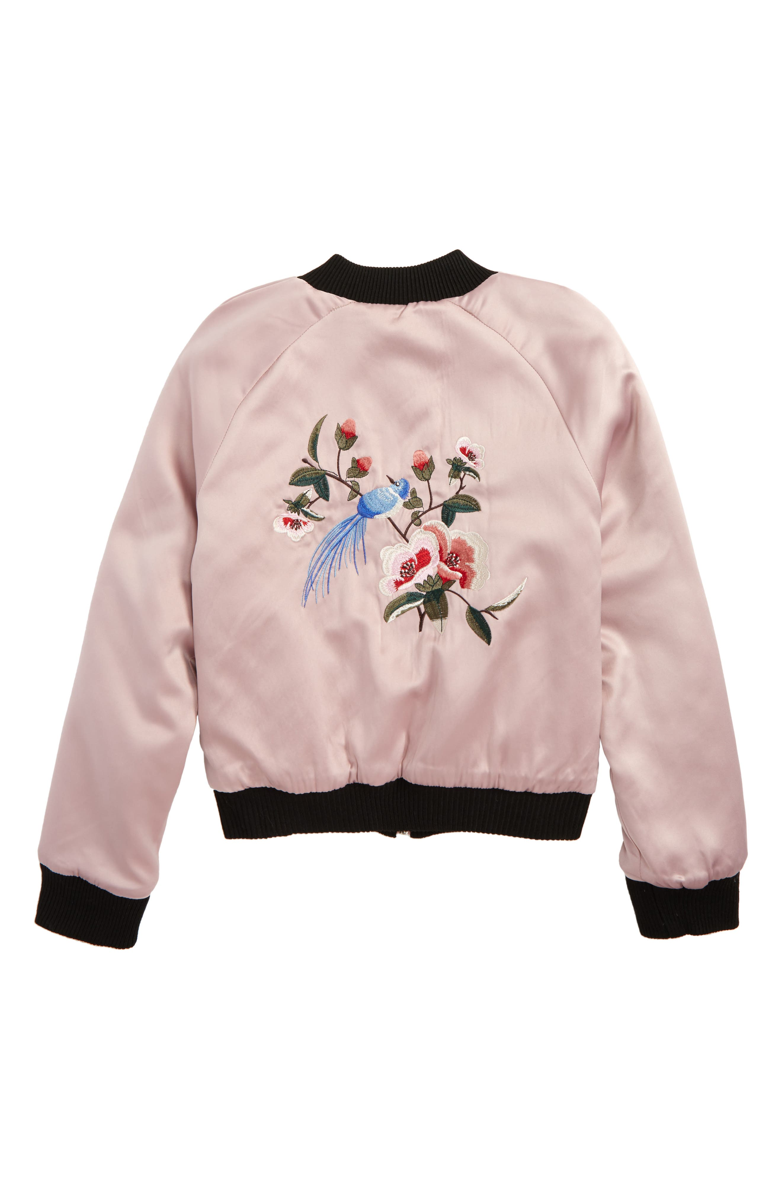 Embroidered Reversible Bomber Jacket,                             Alternate thumbnail 3, color,                             008