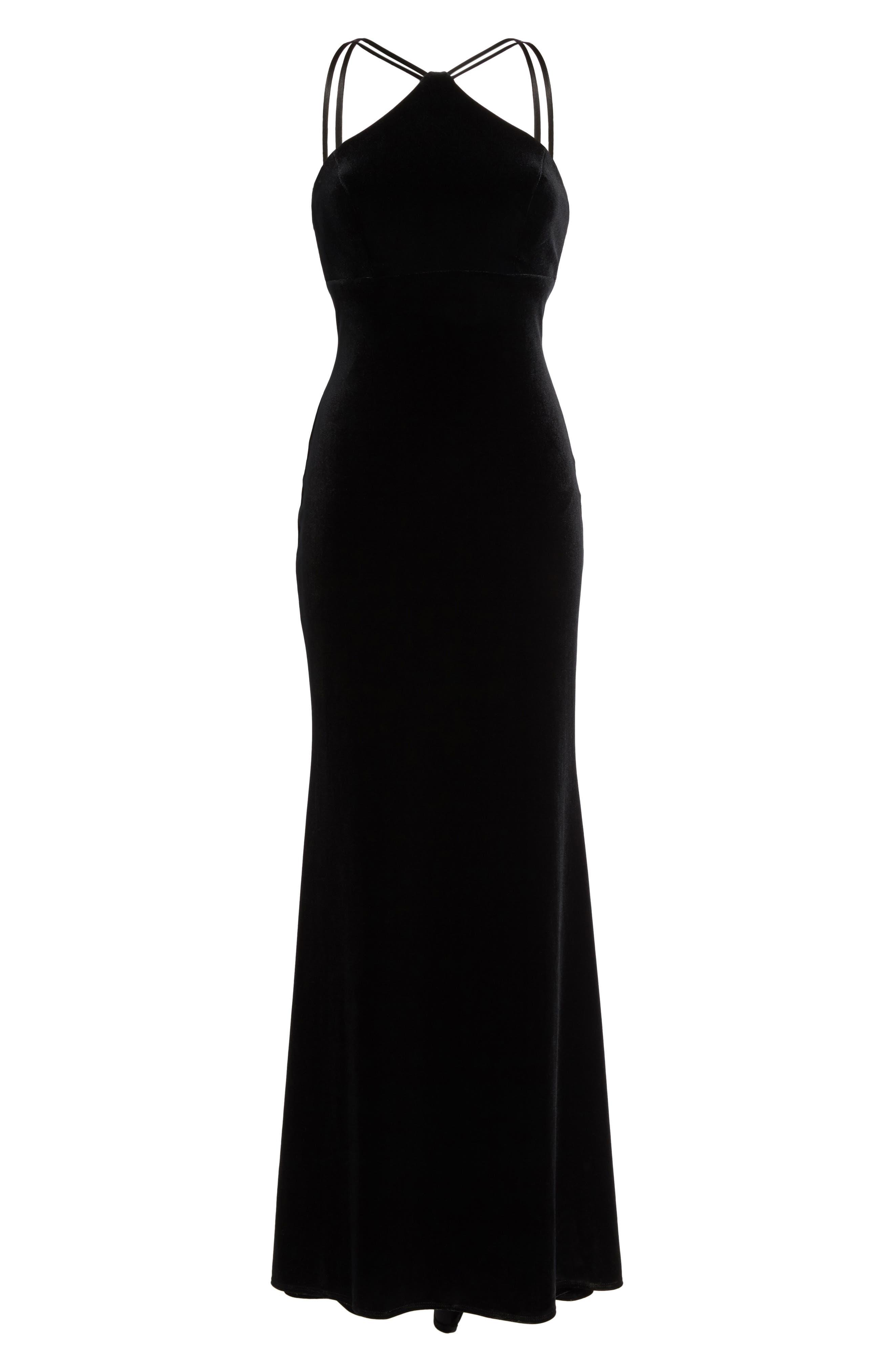 Halter Velvet Mermaid Gown,                             Alternate thumbnail 6, color,                             001