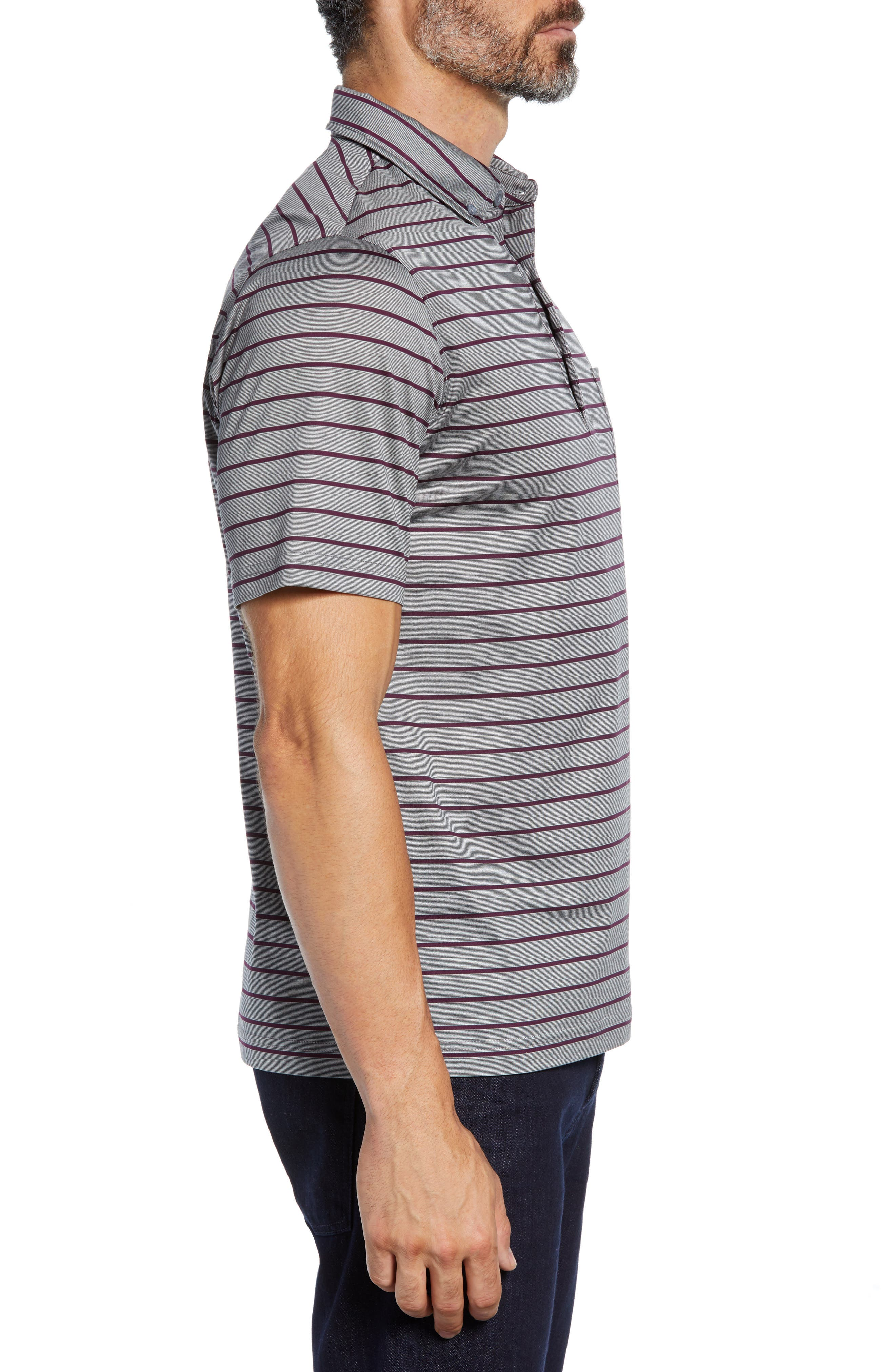 Stripe Knit Polo,                             Alternate thumbnail 3, color,                             PLATINUM