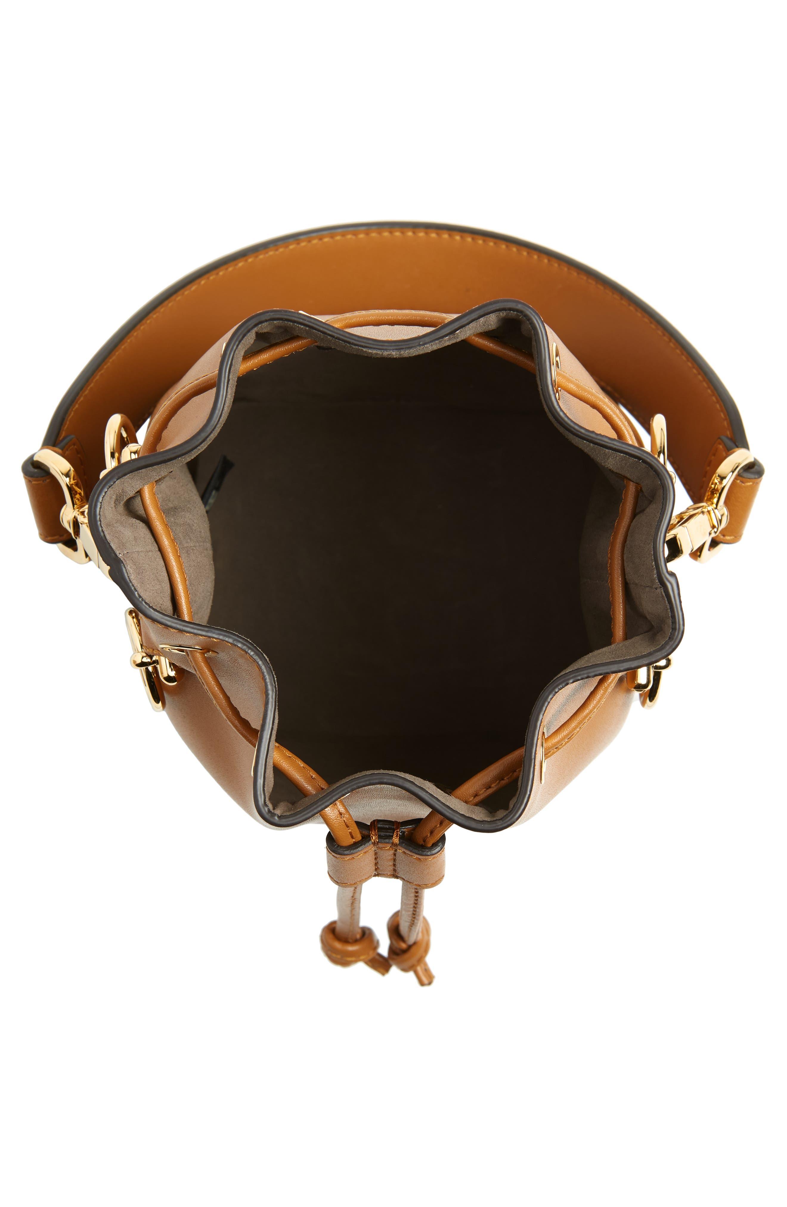 Mon Tresor Embellished Leather Bucket Bag,                             Alternate thumbnail 5, color,                             CARAMEL