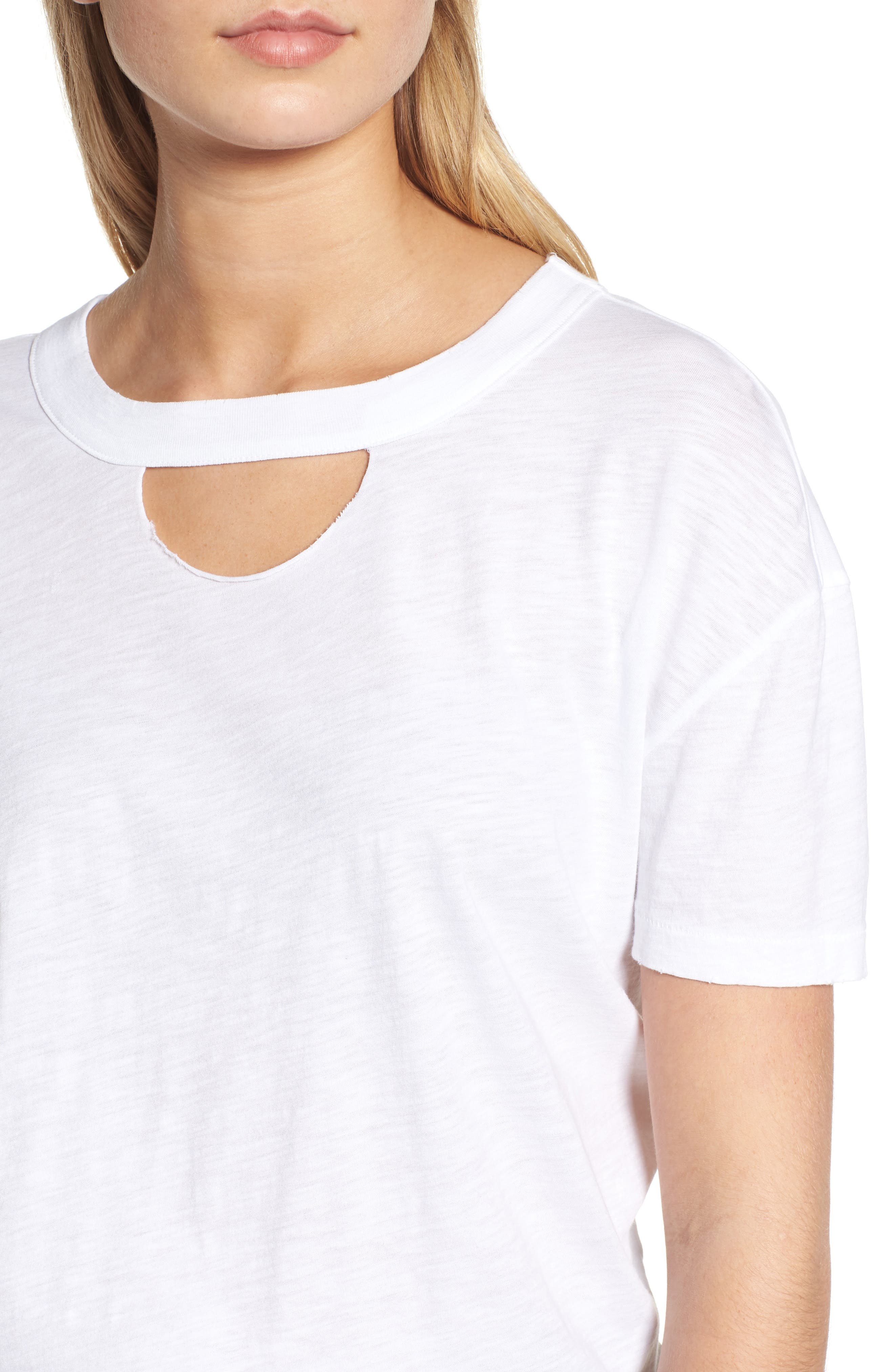 Allen Cutout Detail Boyfriend Cotton Tee,                             Alternate thumbnail 4, color,                             WHITE