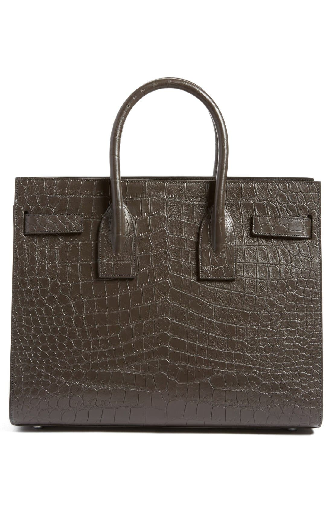 'Small Sac de Jour' Croc Embossed Leather Tote,                             Alternate thumbnail 3, color,                             022