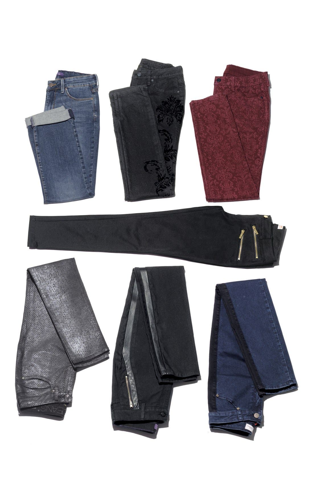'Megan' Faux Leather Trim Stretch Skinny Jeans,                             Alternate thumbnail 7, color,                             460