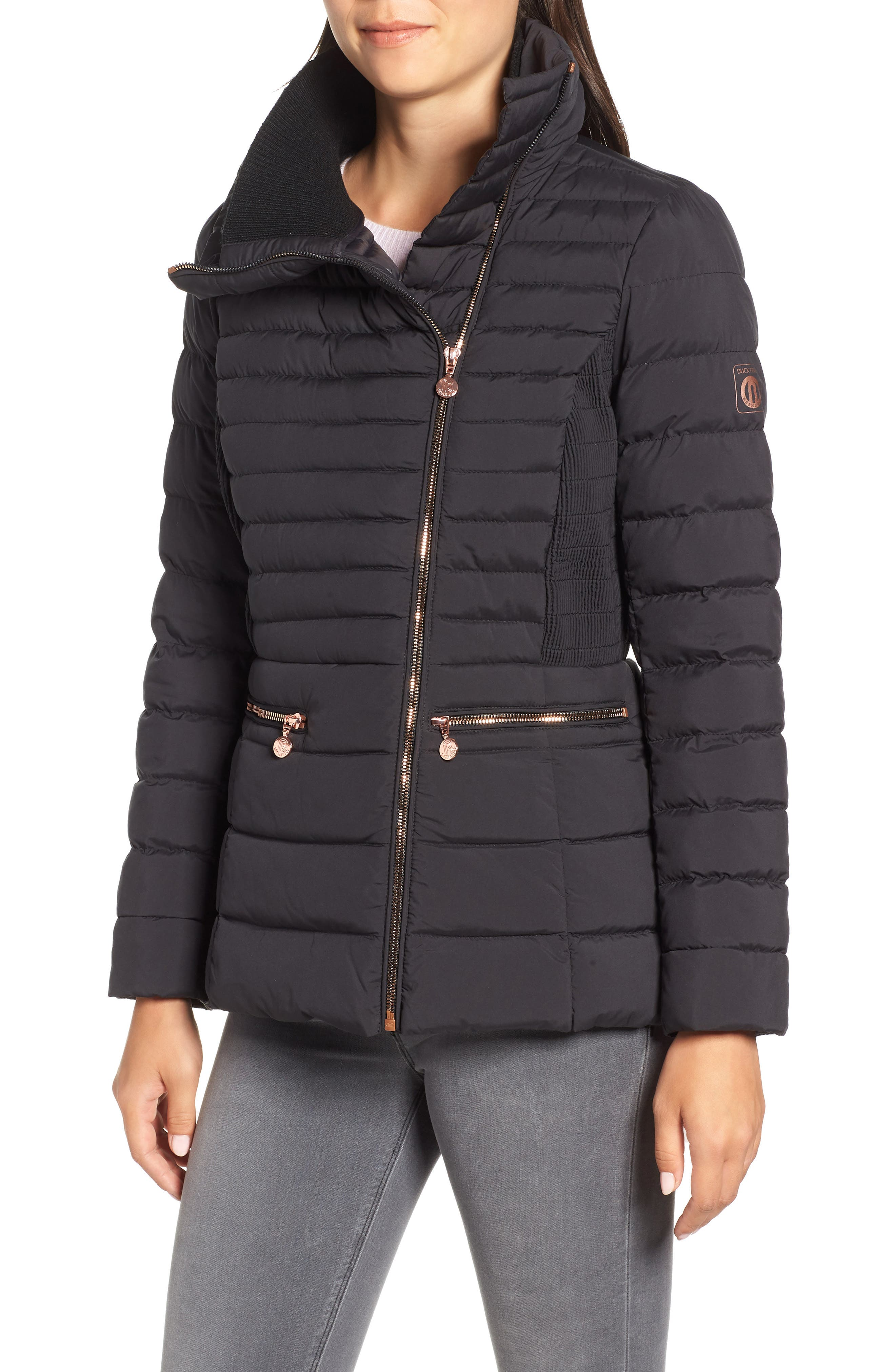 Asymmetrical Water Resistant Quilted Jacket,                             Main thumbnail 1, color,                             001