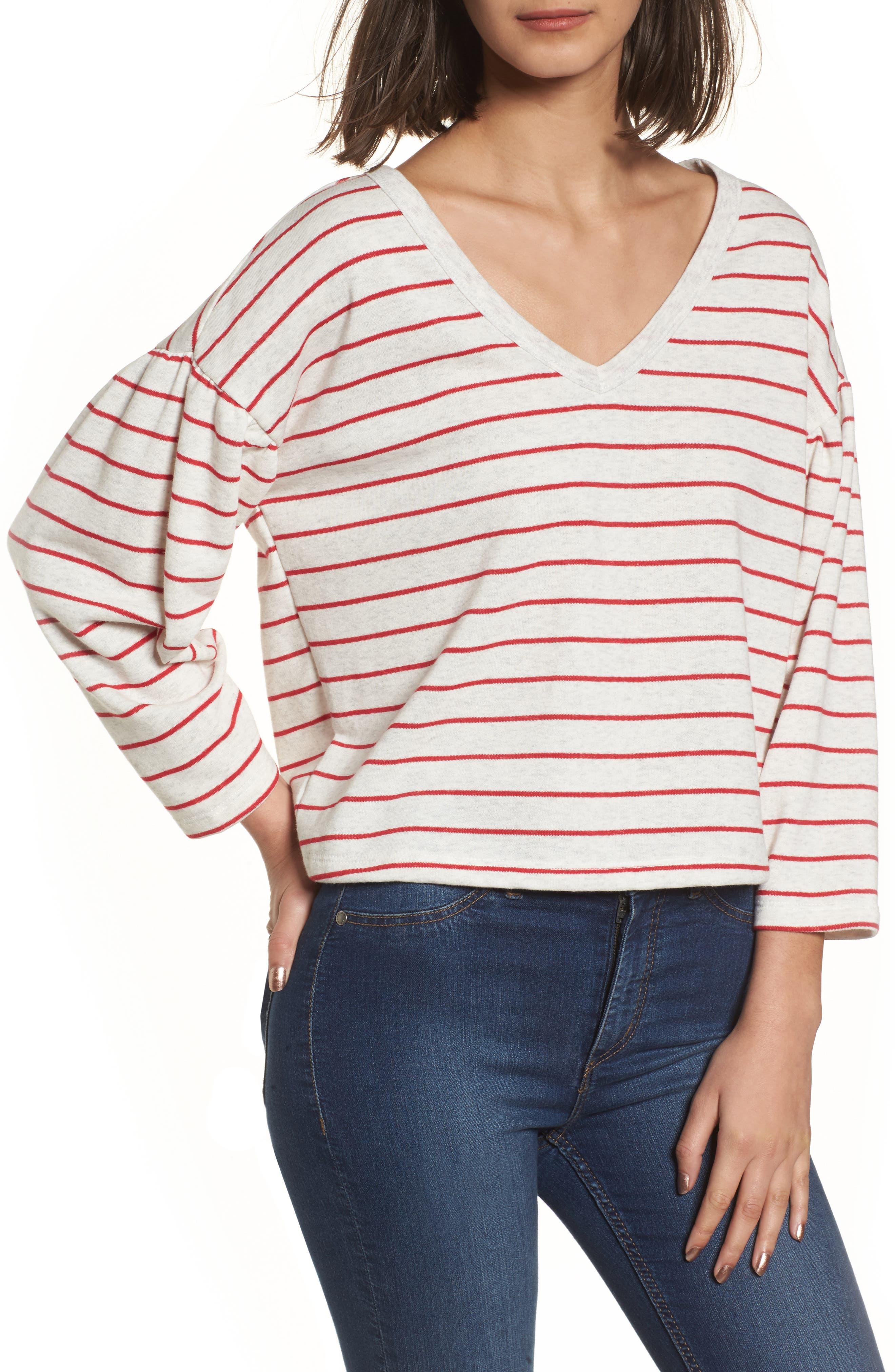 Drop Shoulder Stripe Sweater,                             Main thumbnail 2, color,