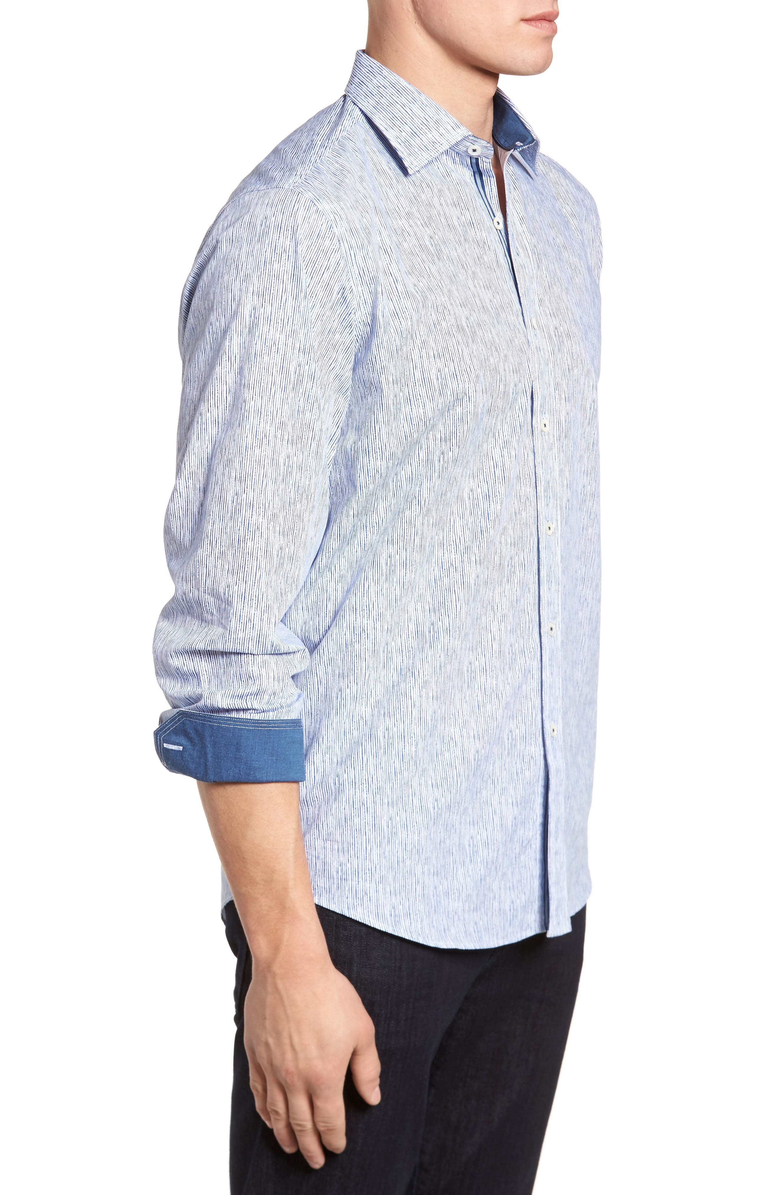 Freehand Pin Lines Classic Fit Sport Shirt,                             Alternate thumbnail 3, color,                             100