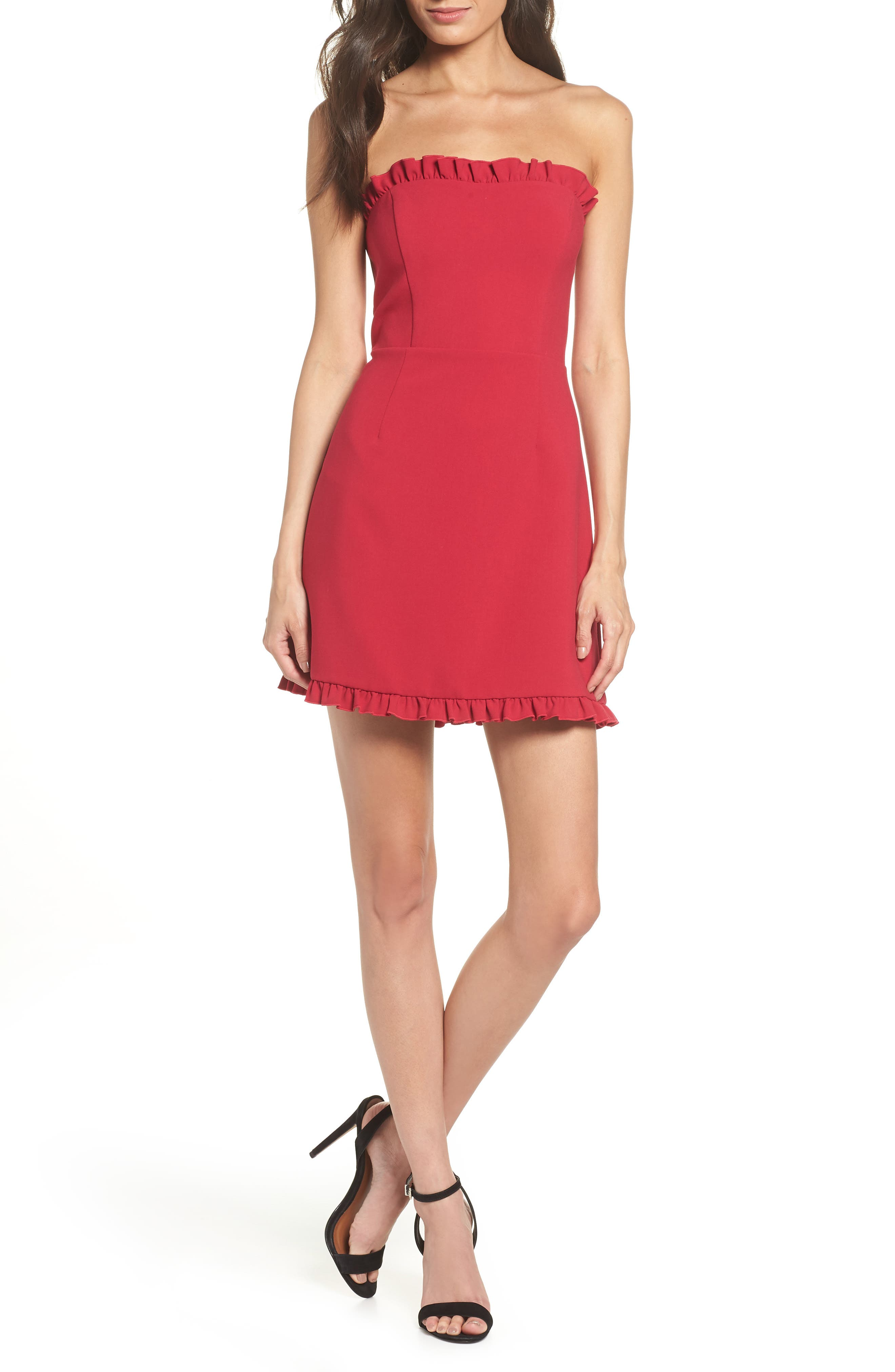 French Connection Whisper Strapless Minidress, Red