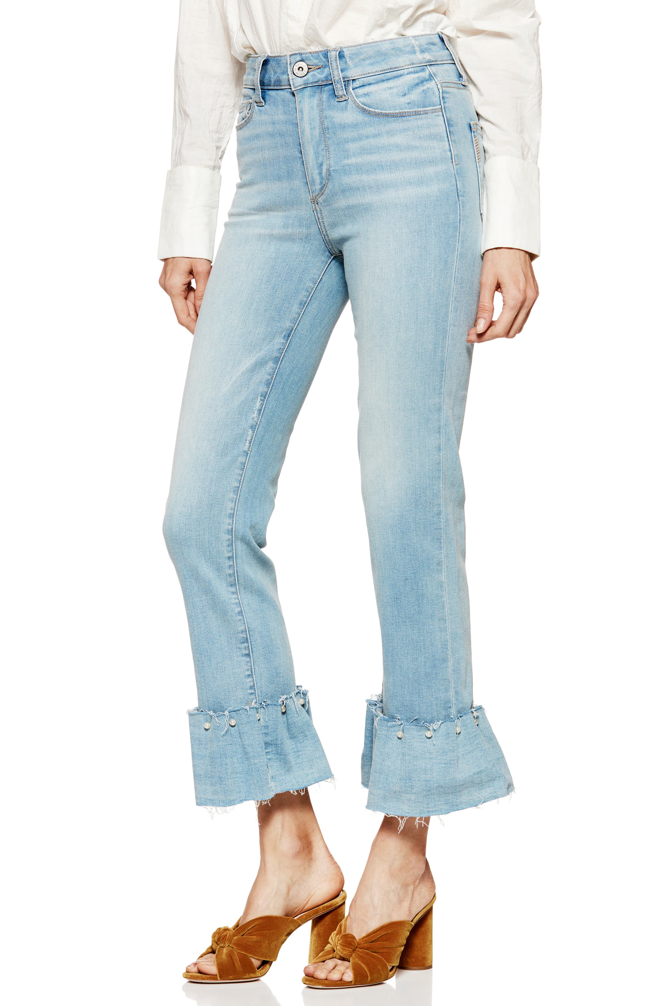 Transcend Vintage - Hoxton Embellished Ruffle High Waist Jeans,                         Main,                         color, PALMS