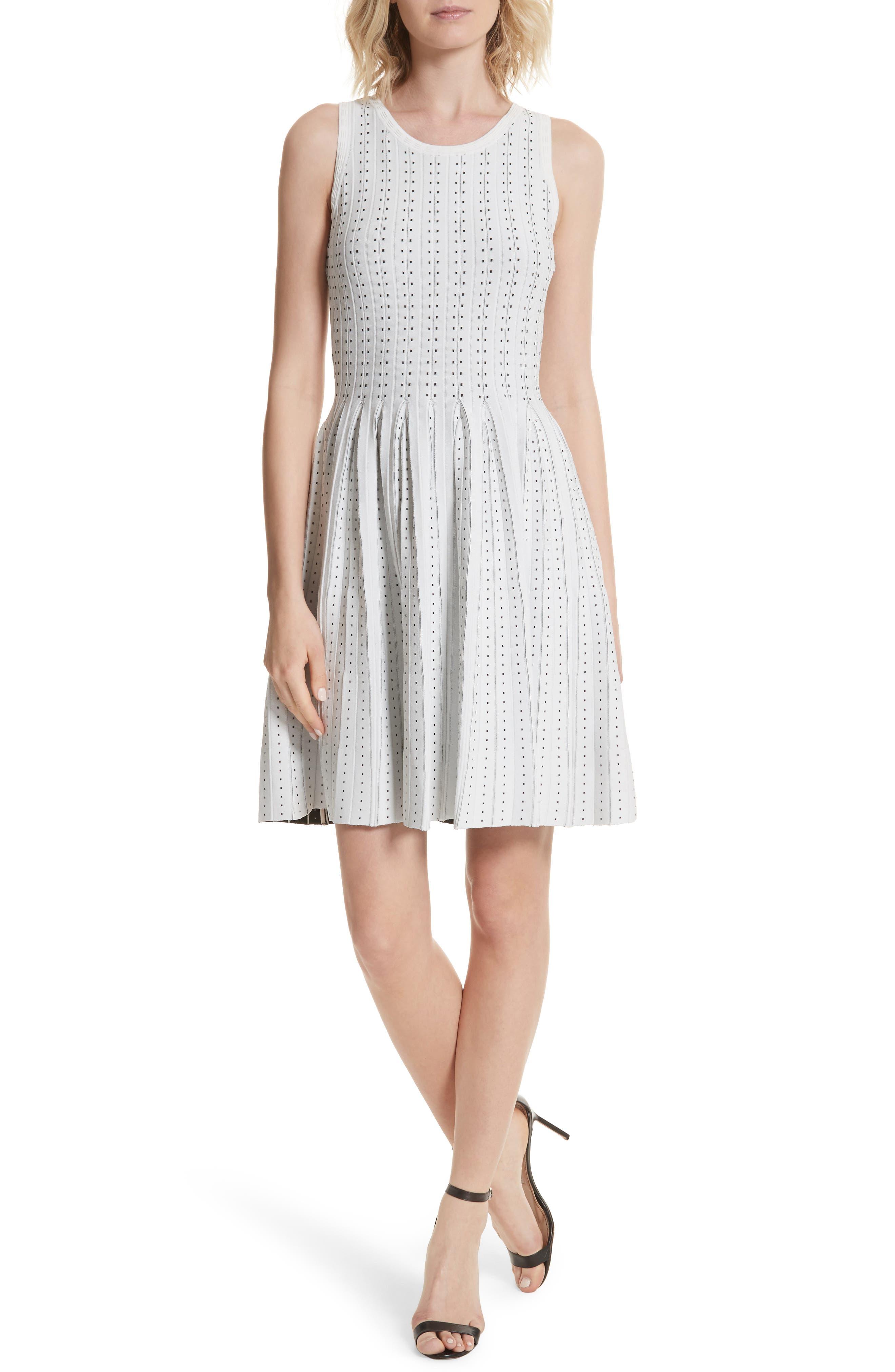 Dot Pleat Fit & Flare Dress,                             Main thumbnail 1, color,                             110