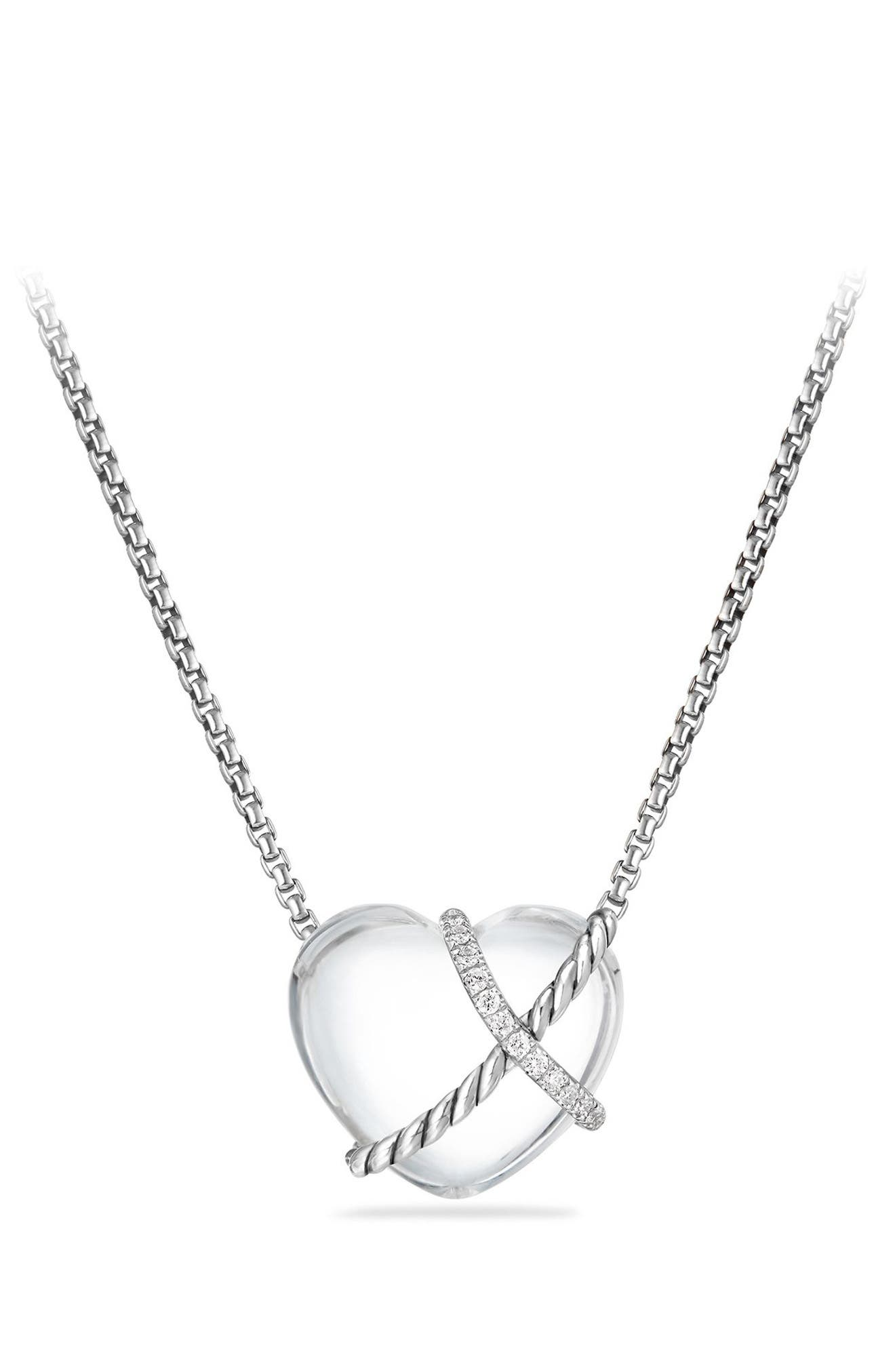 Le Petite Coeur Sculpted Heart Chain Necklace with Diamonds,                             Main thumbnail 1, color,                             CRYSTAL