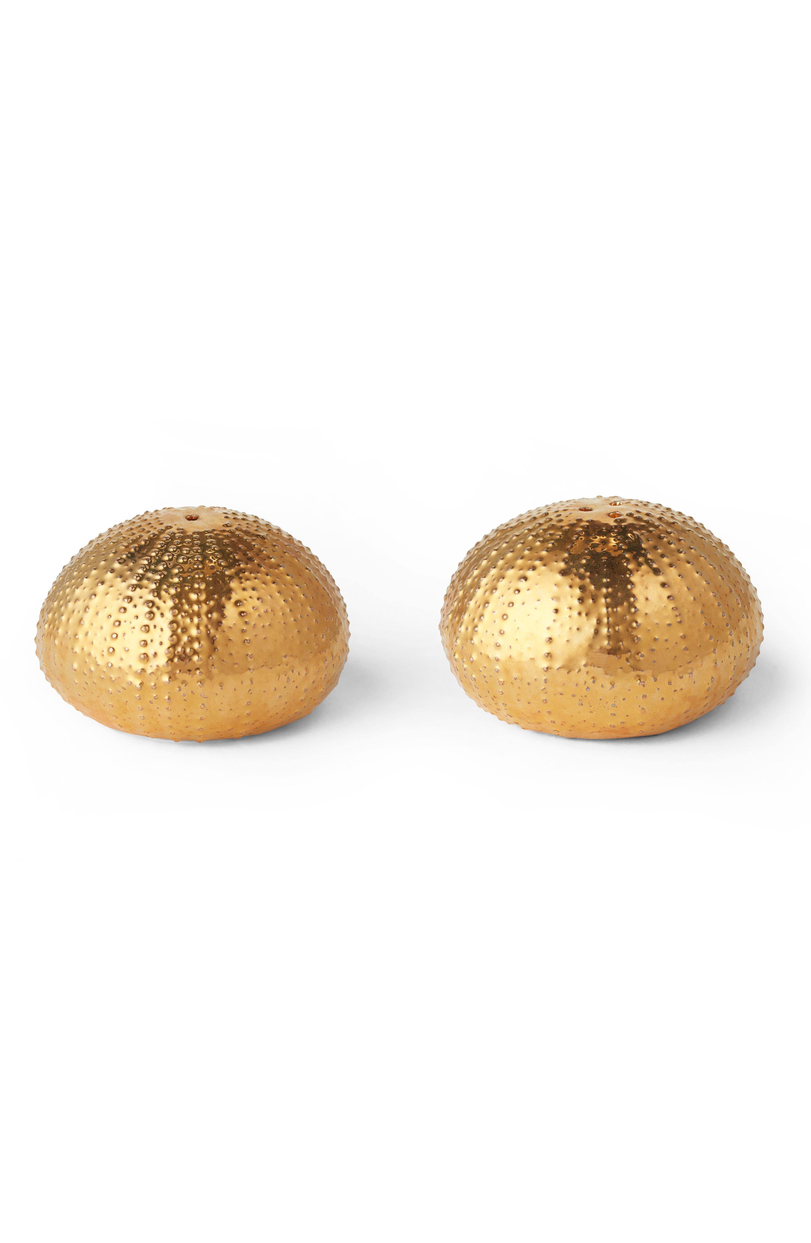 Sea Urchin Salt & Pepper Shakers,                         Main,                         color, GOLD