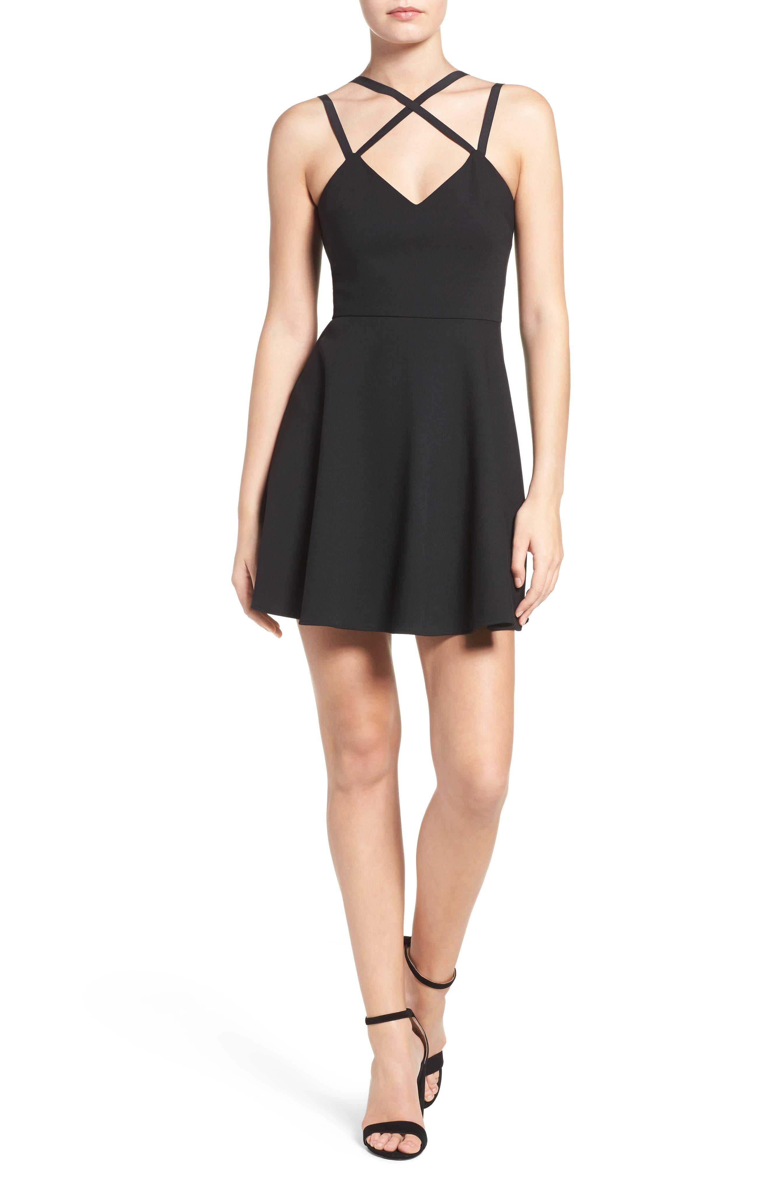 Whisper Light Fit & Flare Dress,                             Alternate thumbnail 6, color,                             BLACK