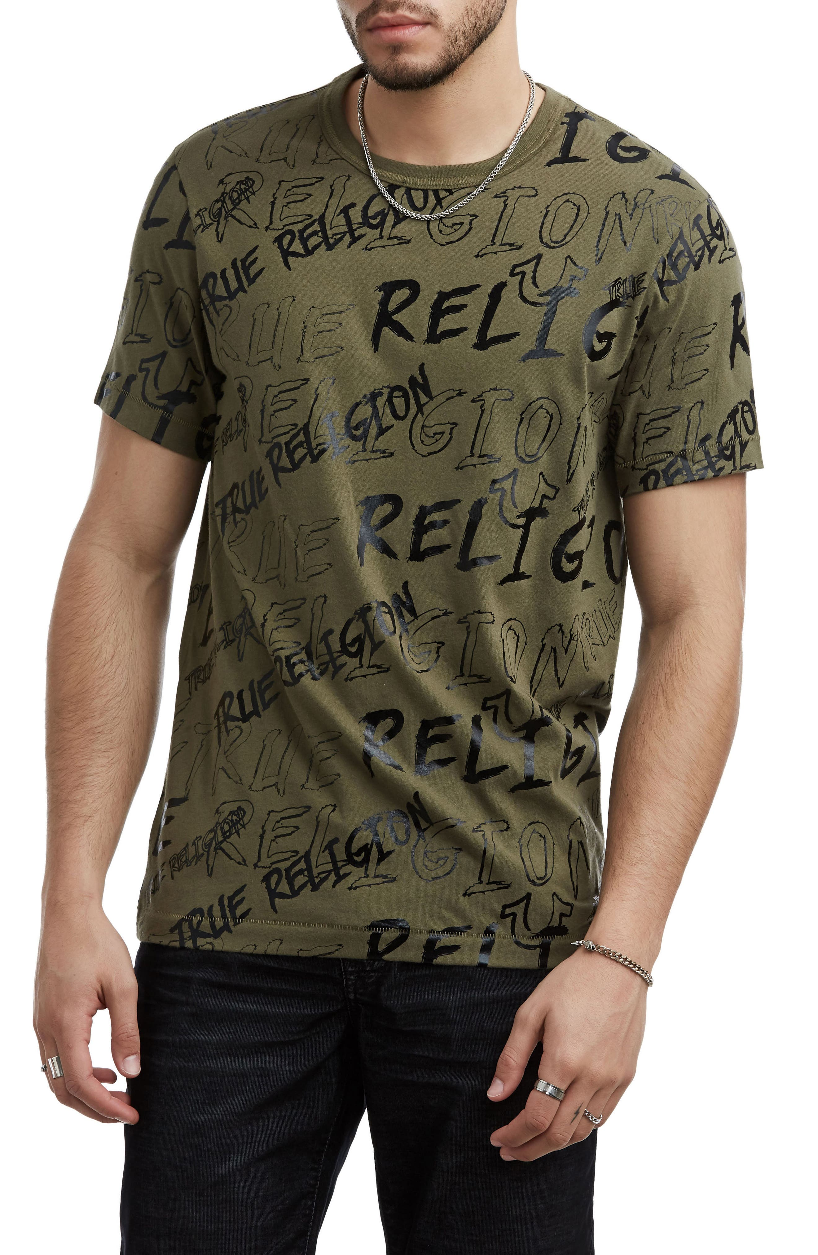 True Religion Logo Mania T-Shirt,                             Main thumbnail 1, color,                             300
