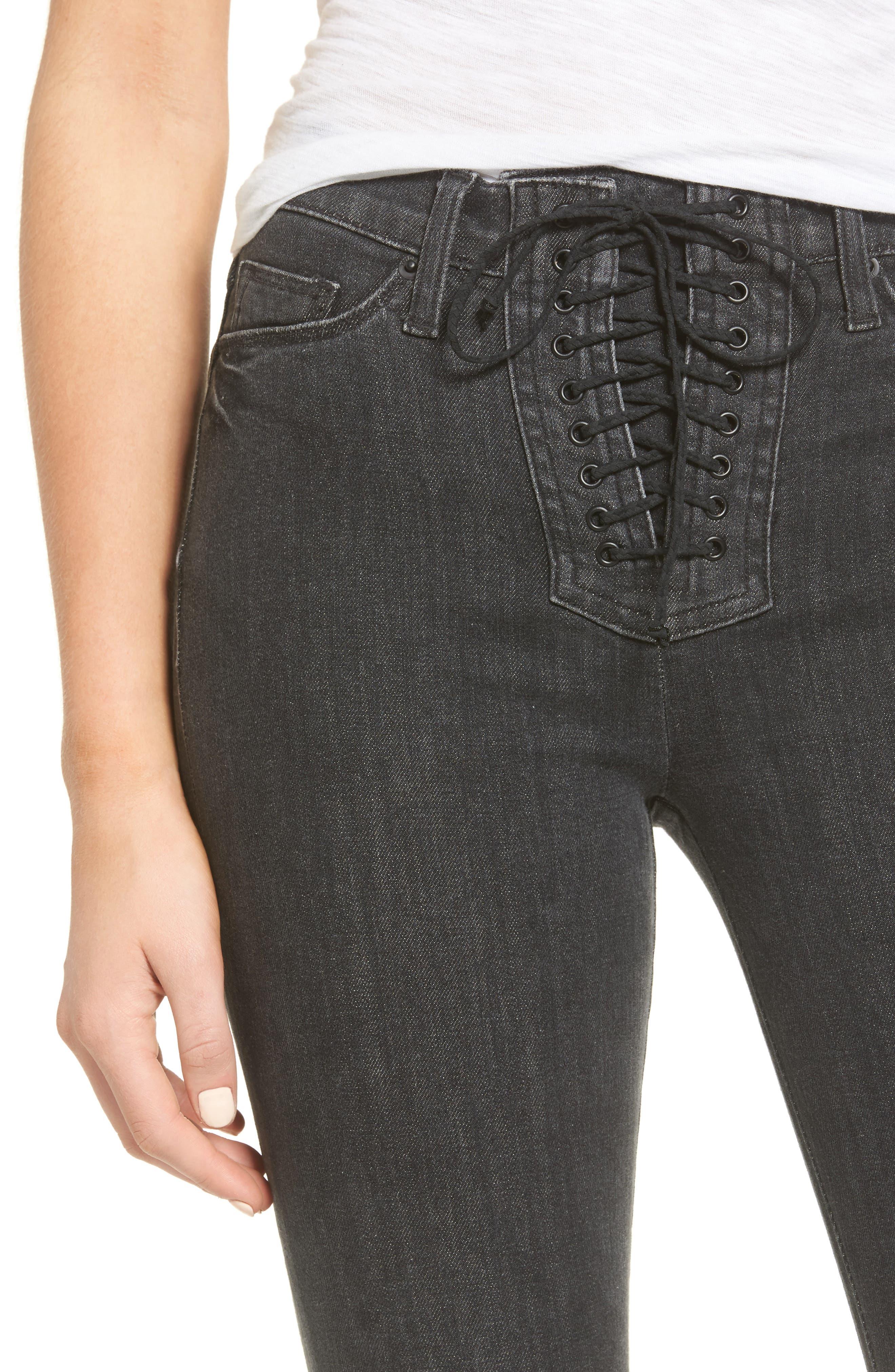Bullocks High Waist Lace-Up Skinny Jeans,                             Alternate thumbnail 4, color,                             001