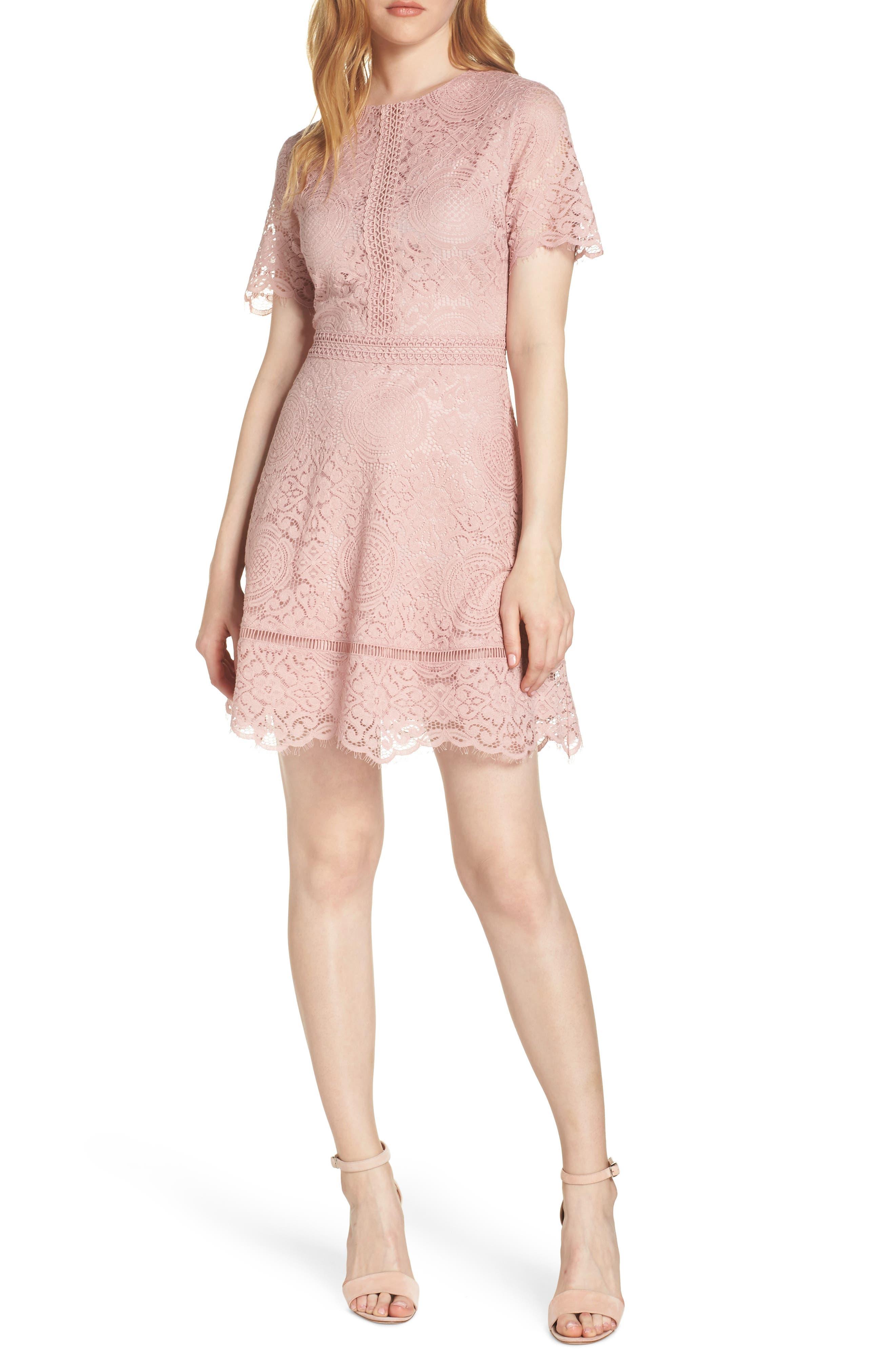 Bb Dakota Scalloped Lace Dress, Pink