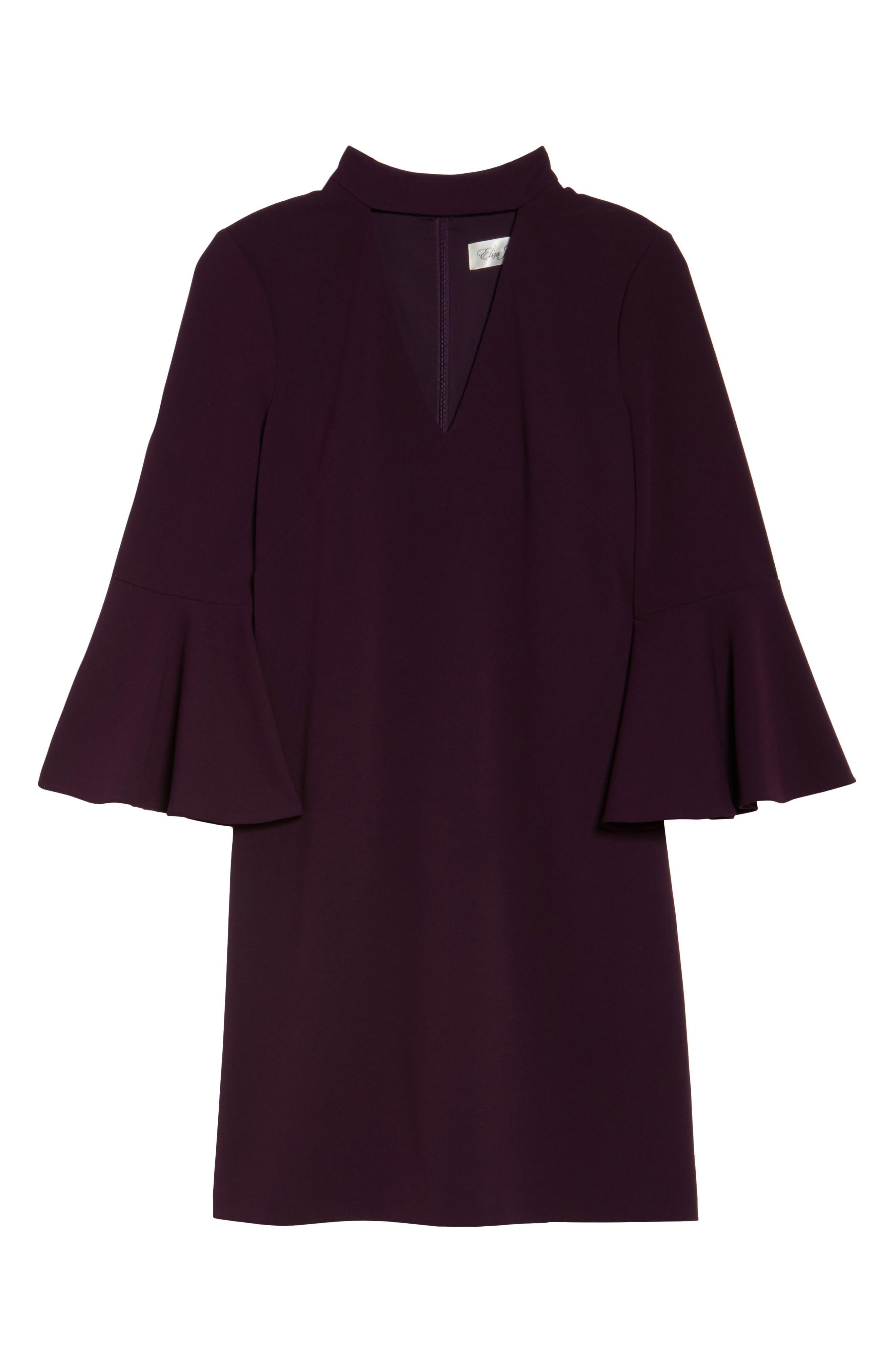 Choker Bell Sleeve Shift Dress,                             Alternate thumbnail 6, color,                             510