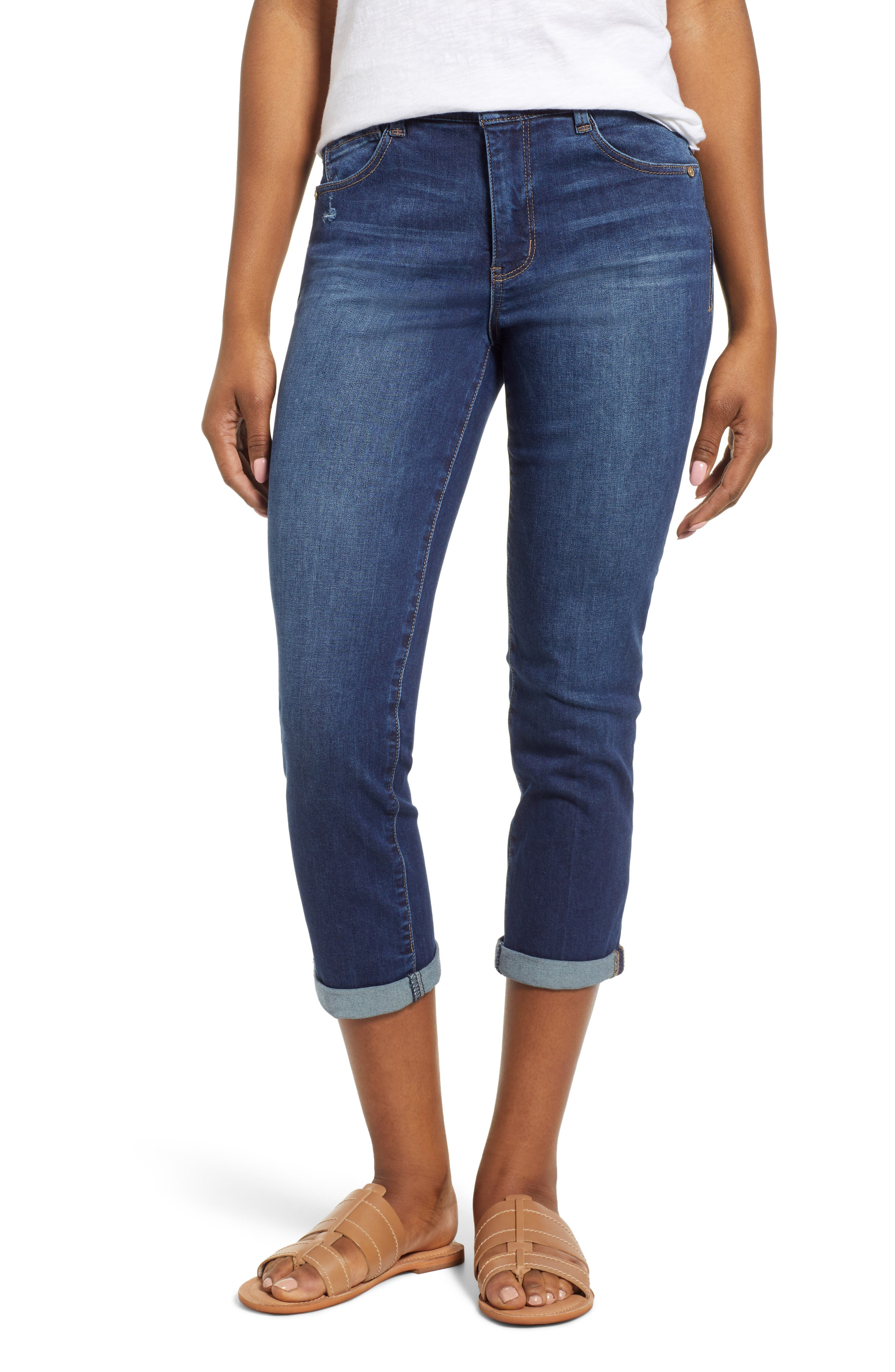 Luxe Touch High Waist Crop Skinny Jeans, Main, color, BLUE