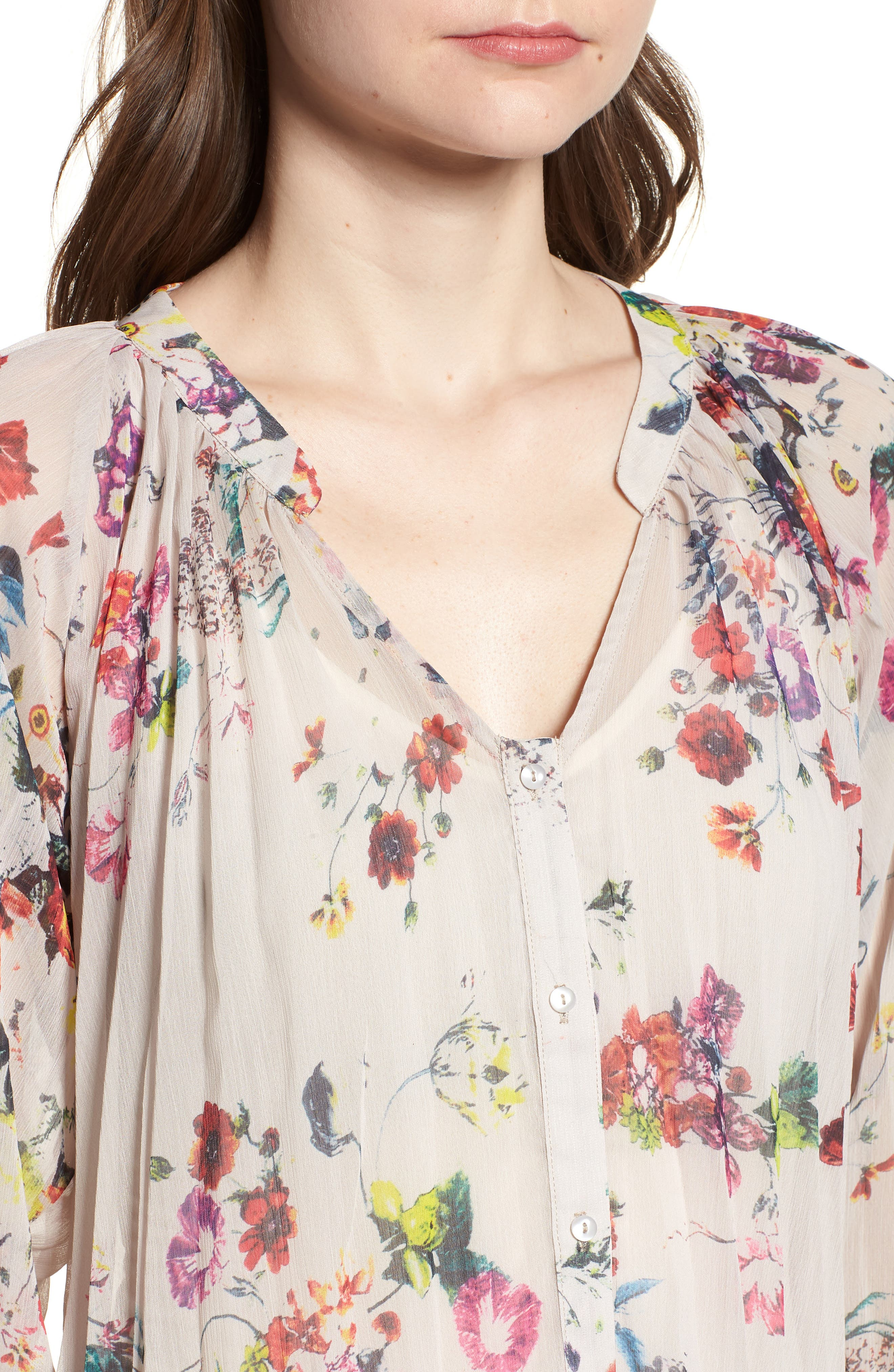 Bishop + Young Floral Pleated Top,                             Alternate thumbnail 4, color,