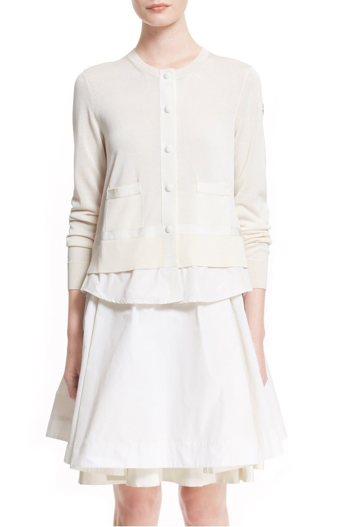 'Maglia' Tricot Button Cardigan,                         Main,                         color, WHITE