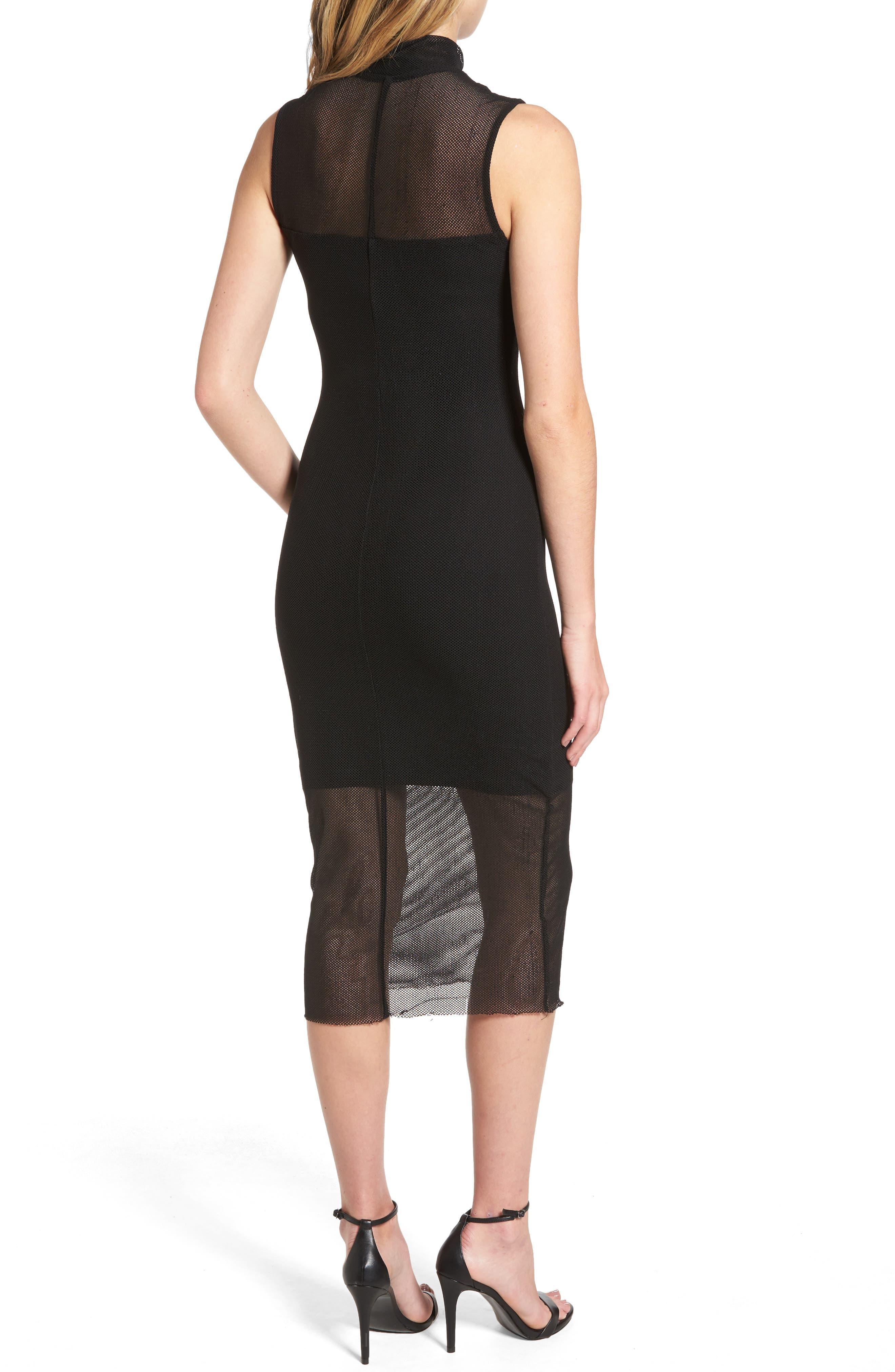 Mesh Body-Con Dress,                             Alternate thumbnail 2, color,                             001