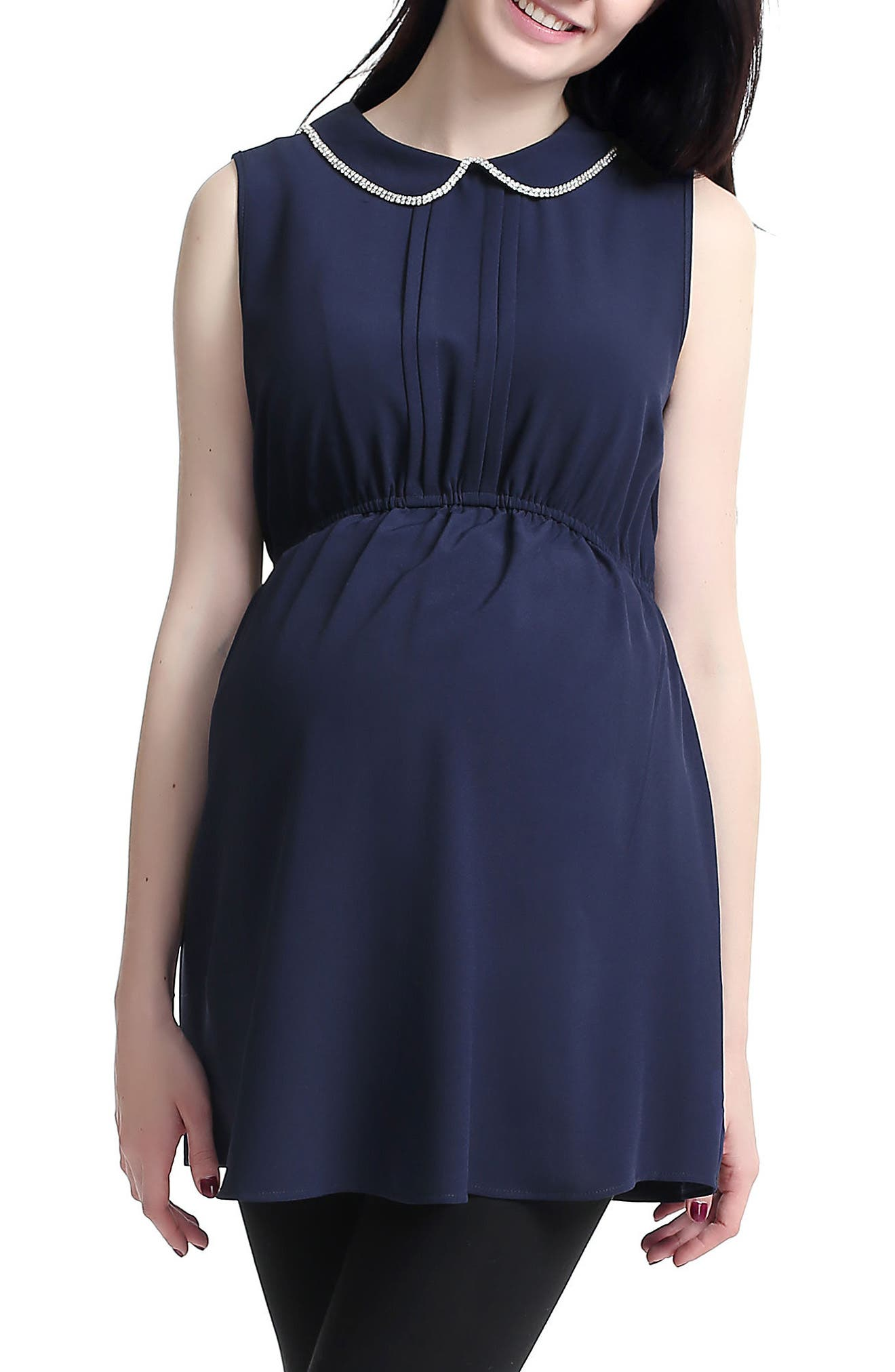 KIMI AND KAI,                             'Callie' Crystal Embellished Peter Pan Collar Sleeveless Maternity Blouse,                             Alternate thumbnail 3, color,                             NAVY