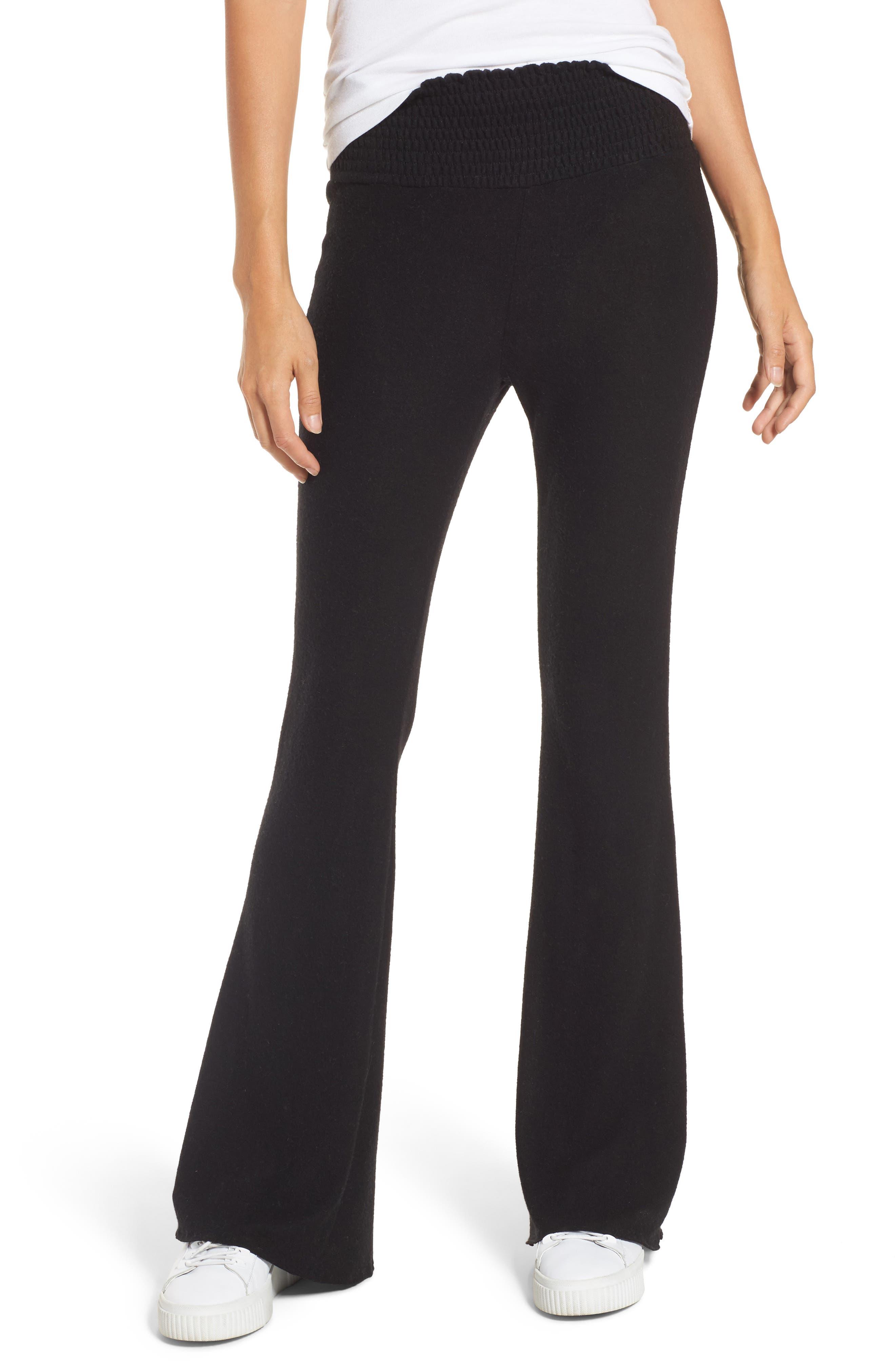 Smocked Waist Flare Leg Sweatpants, Main, color, 001