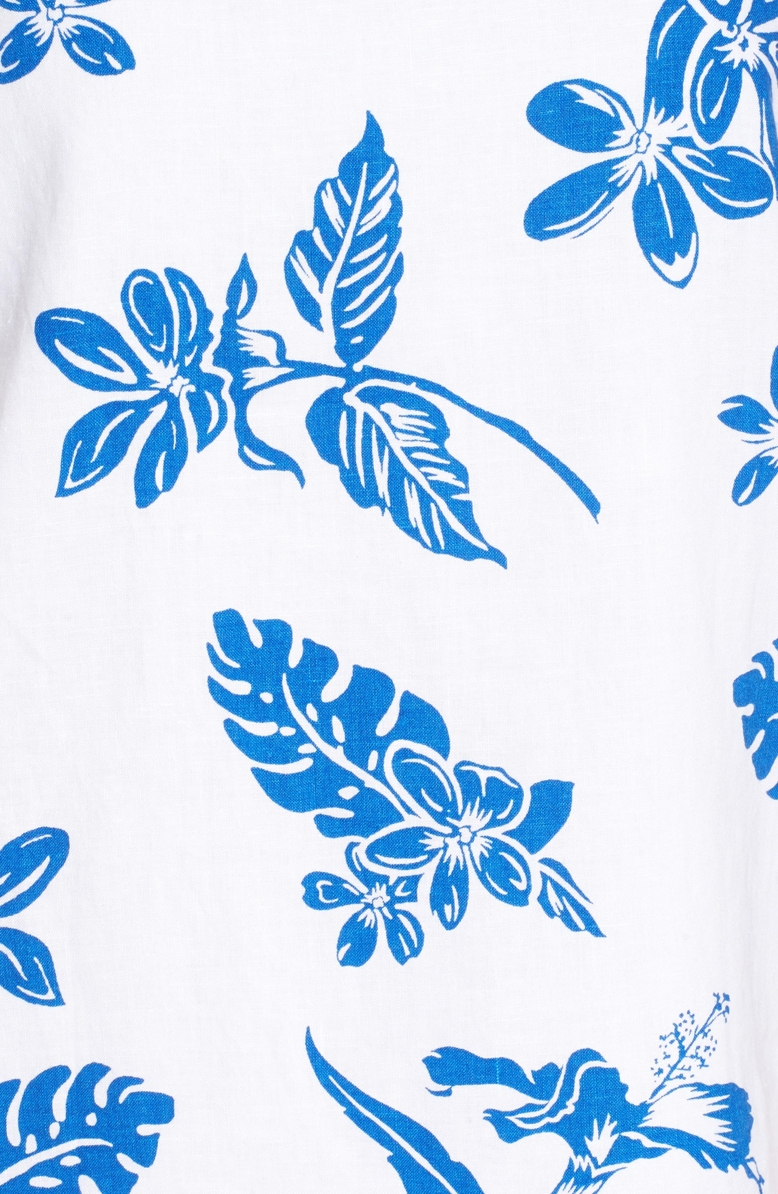 Hibiscus Hiatus Reverse Hem Shift Dress,                             Alternate thumbnail 5, color,                             WHITE/ COBALT
