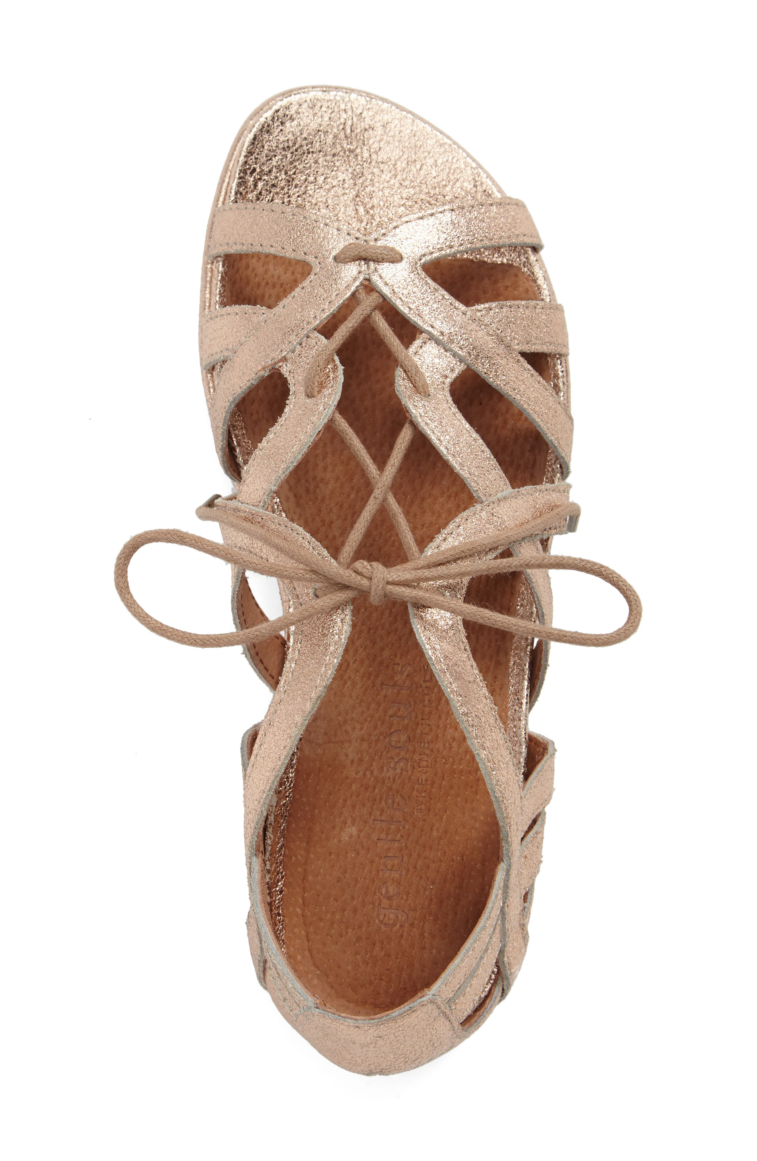 Orly Lace-Up Sandal,                             Alternate thumbnail 5, color,                             ROSE GOLD LEATHER