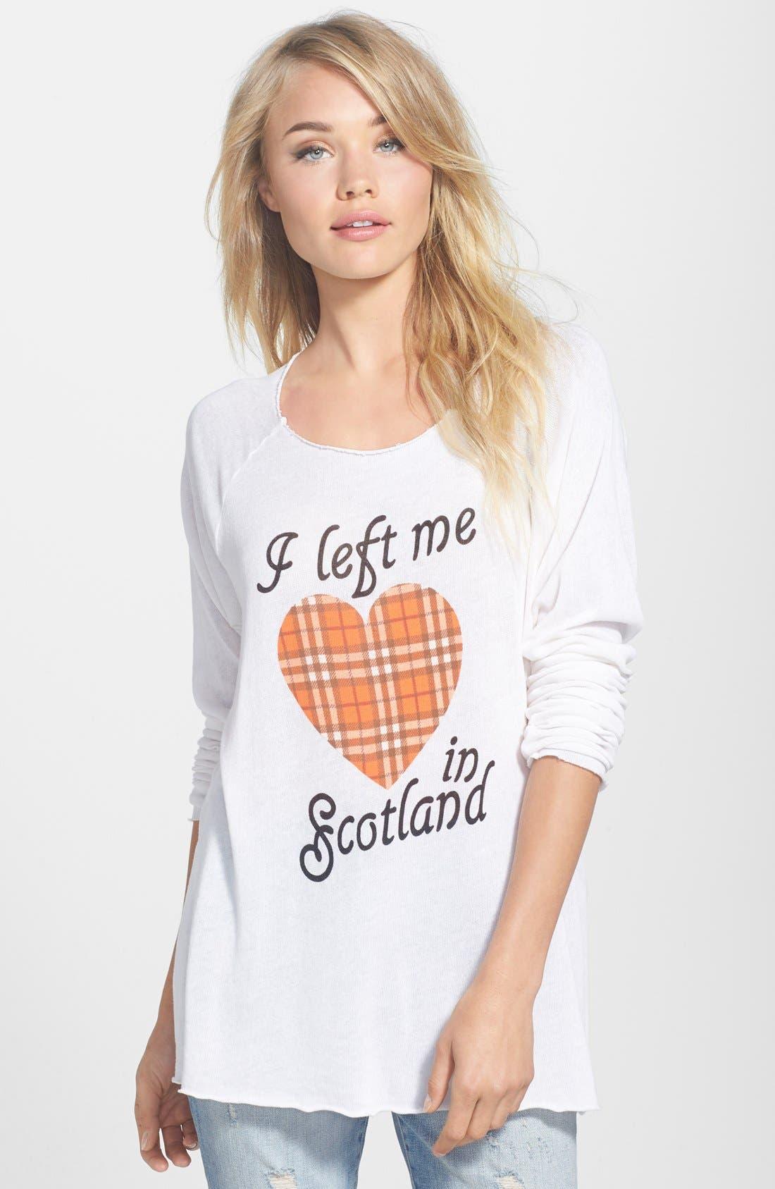 WILDFOX,                             'My Scottish Heart' Raglan Sweatshirt,                             Main thumbnail 1, color,                             900