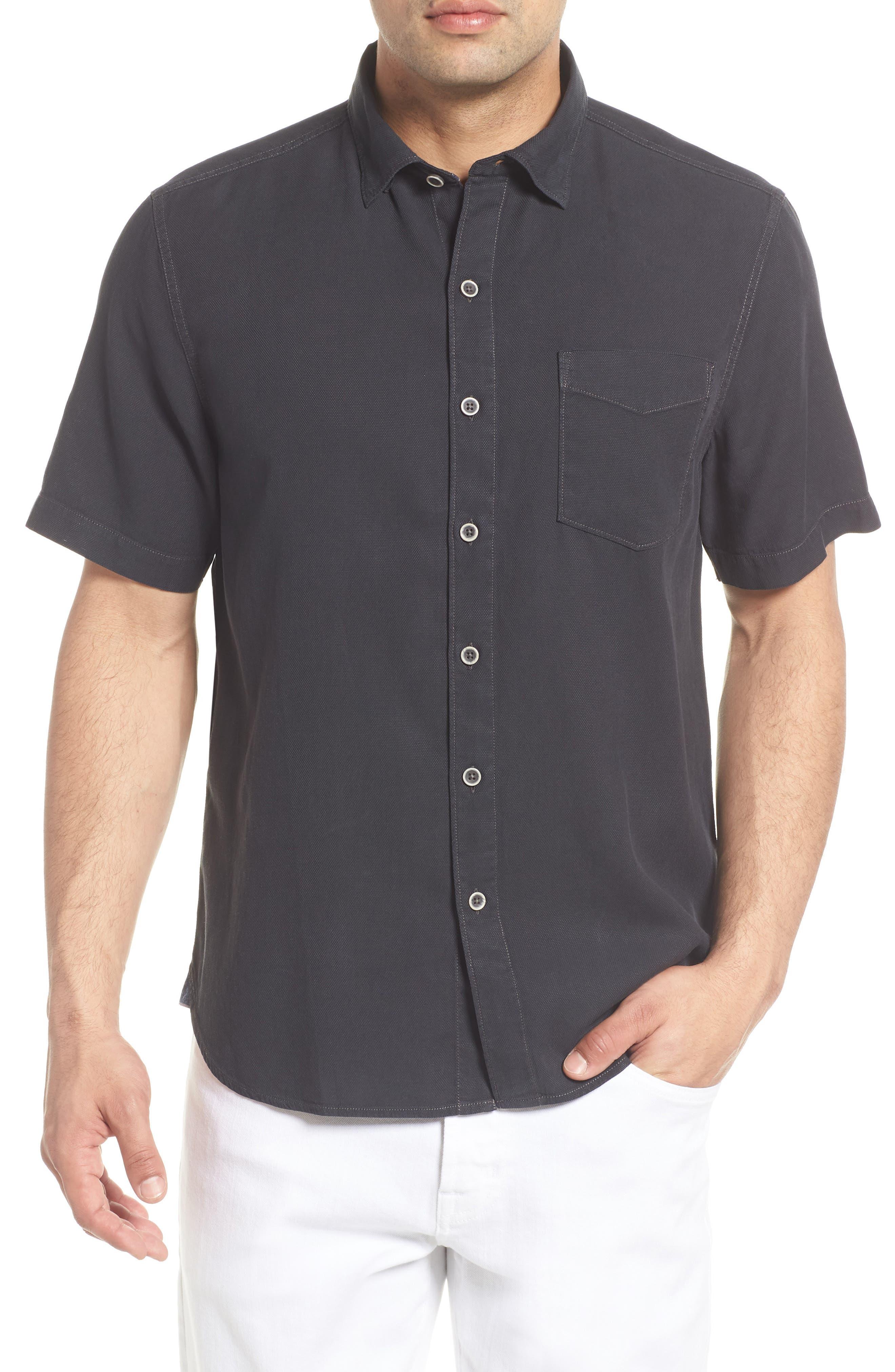Dobby Dylan Sport Shirt,                         Main,                         color, BLACK