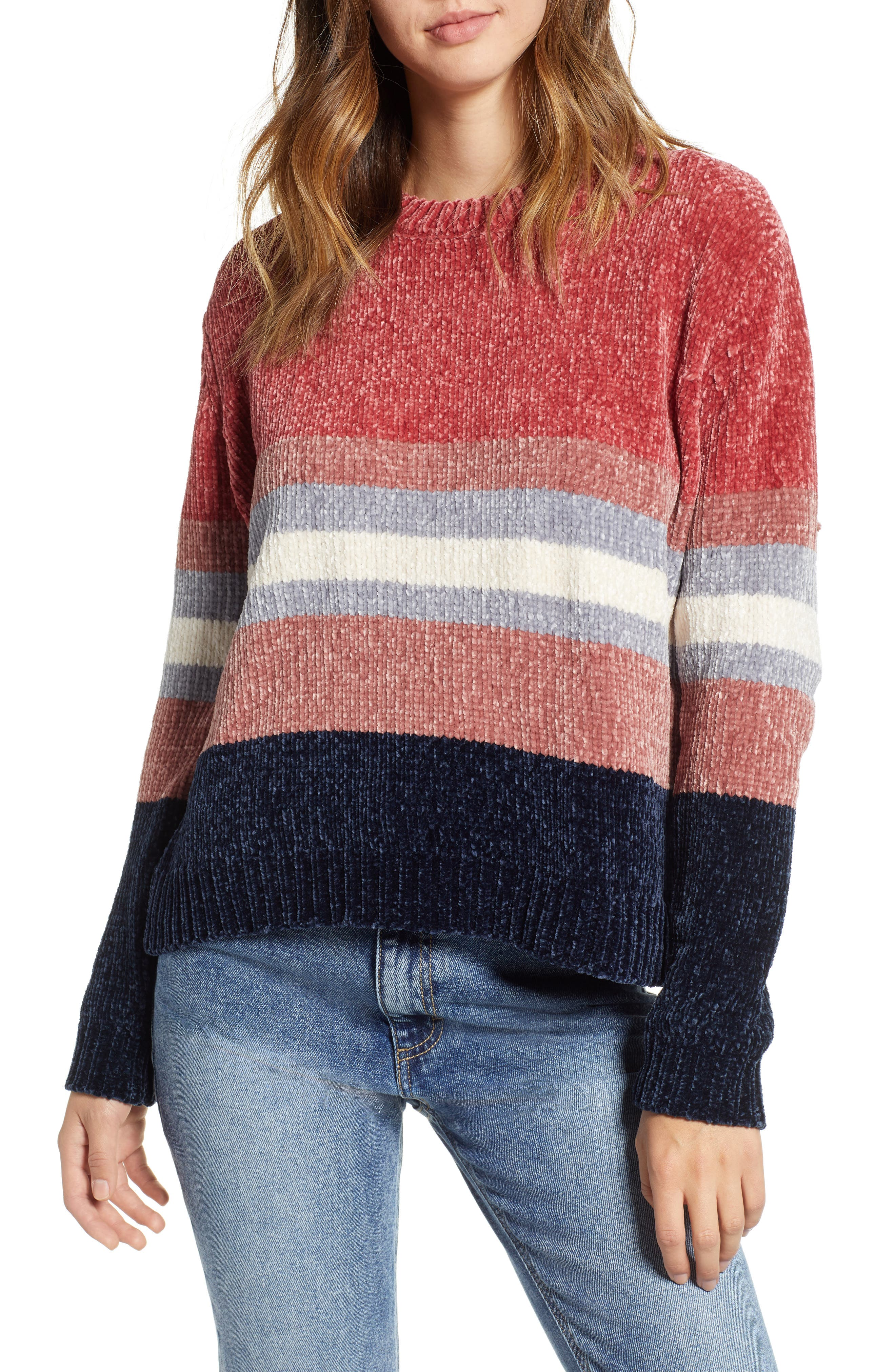 Stripe Chenille Sweater,                         Main,                         color, PINK