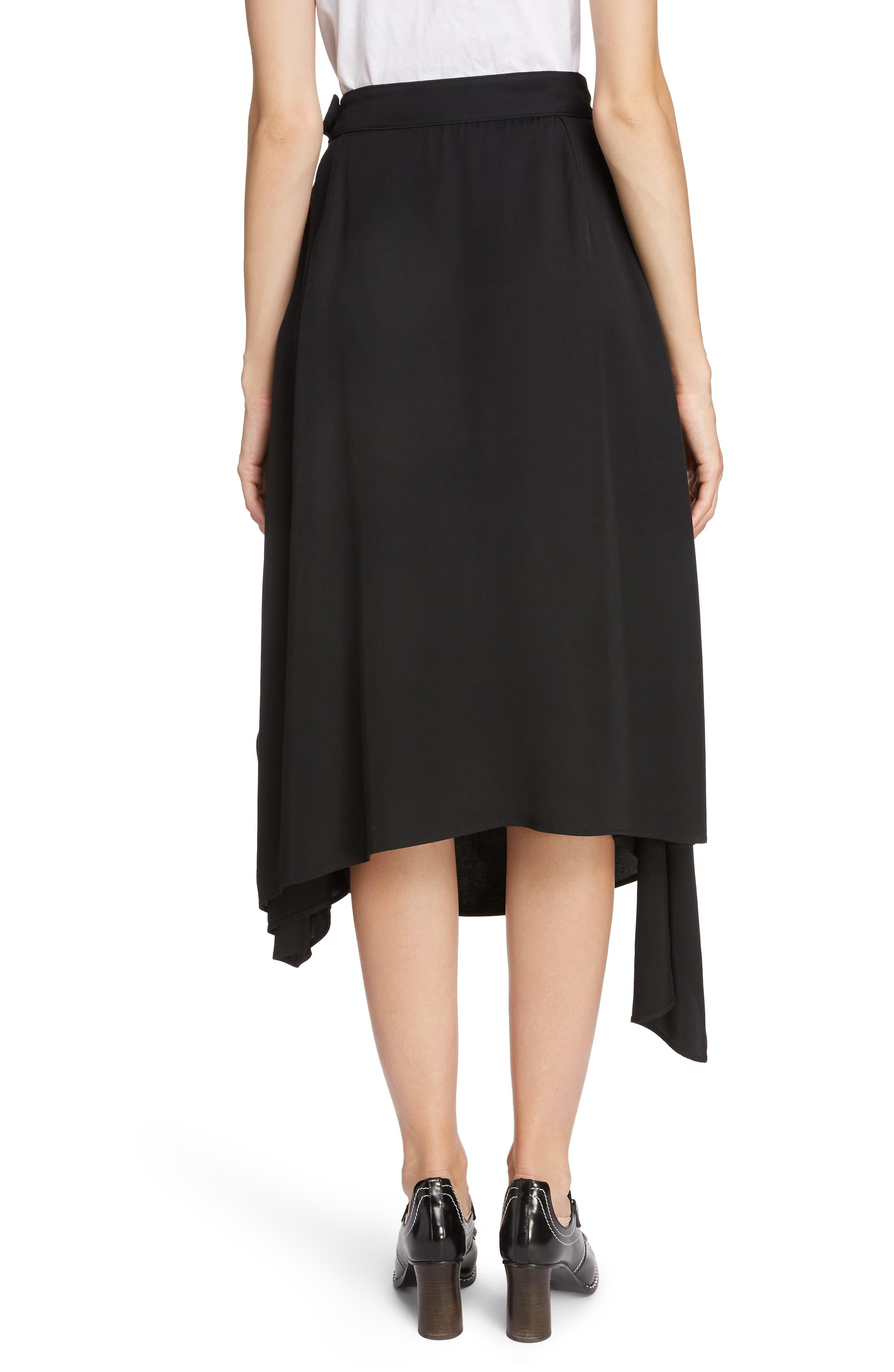 JW ANDERSON,                             Draped Side Asymmetrical Skirt,                             Alternate thumbnail 2, color,                             BLACK