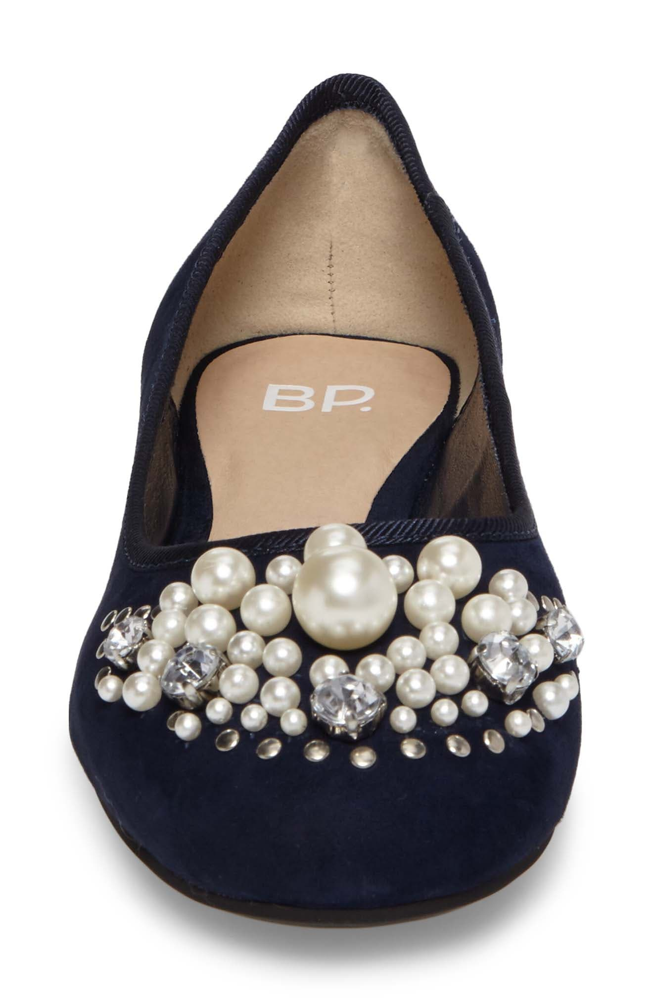 Gracee Imitation Pearl Embellished Flat,                             Alternate thumbnail 4, color,